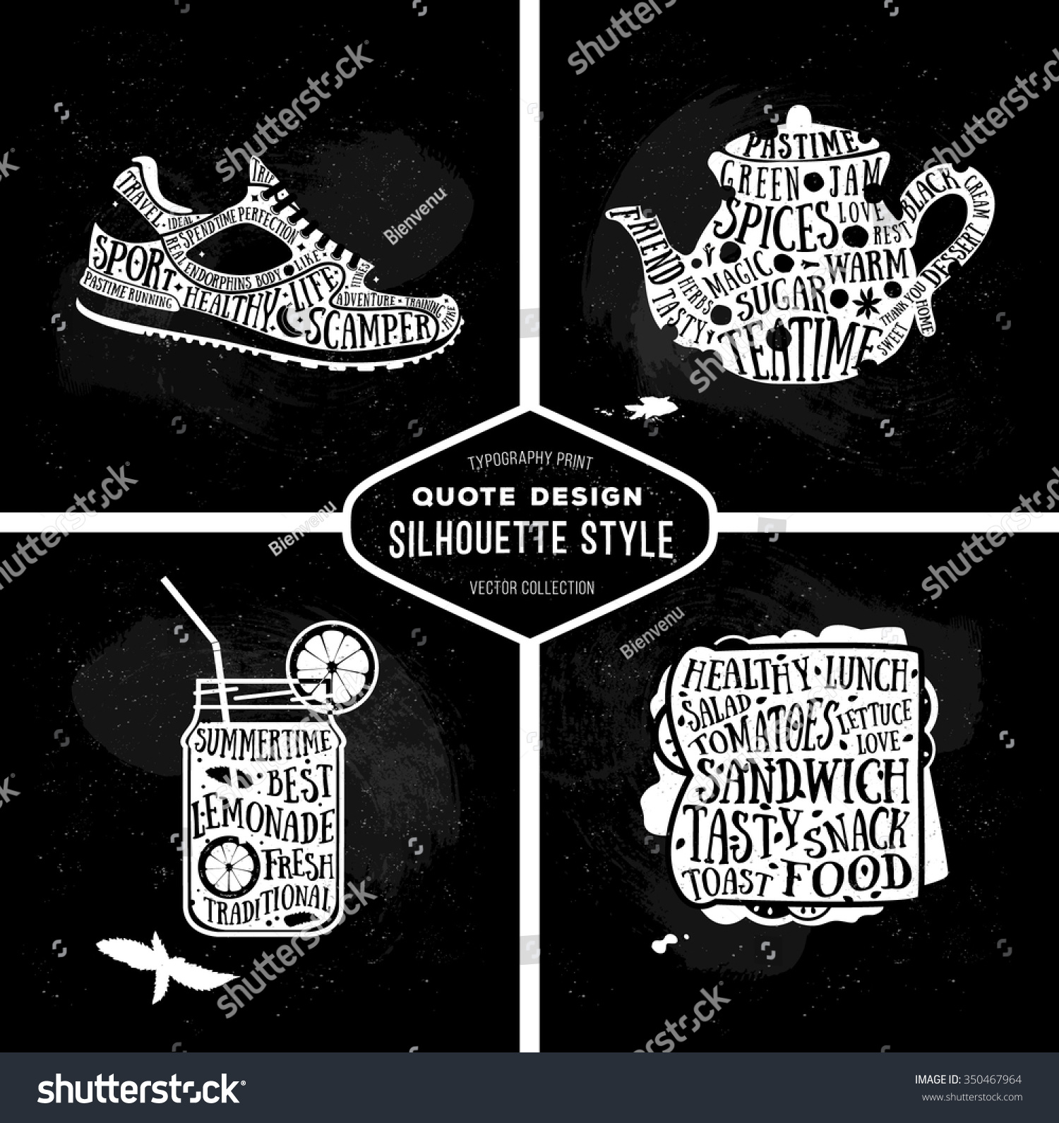Vector Collection Quotes Card Design Set Stock Vector Royalty Free