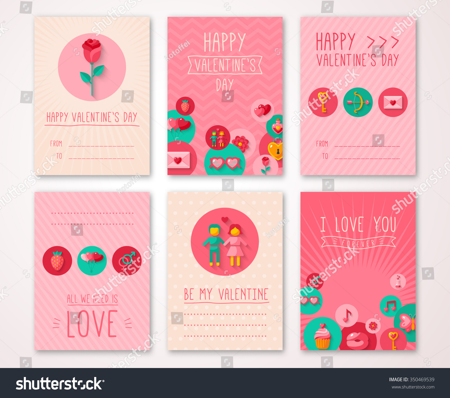 Set Valentines Day Brochures Cards Vector Stock Vector Royalty Free