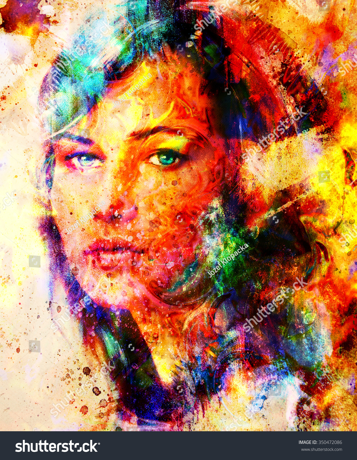 Abstract Surface Computing Stock Photo Young Woman Portrait Color Painting On