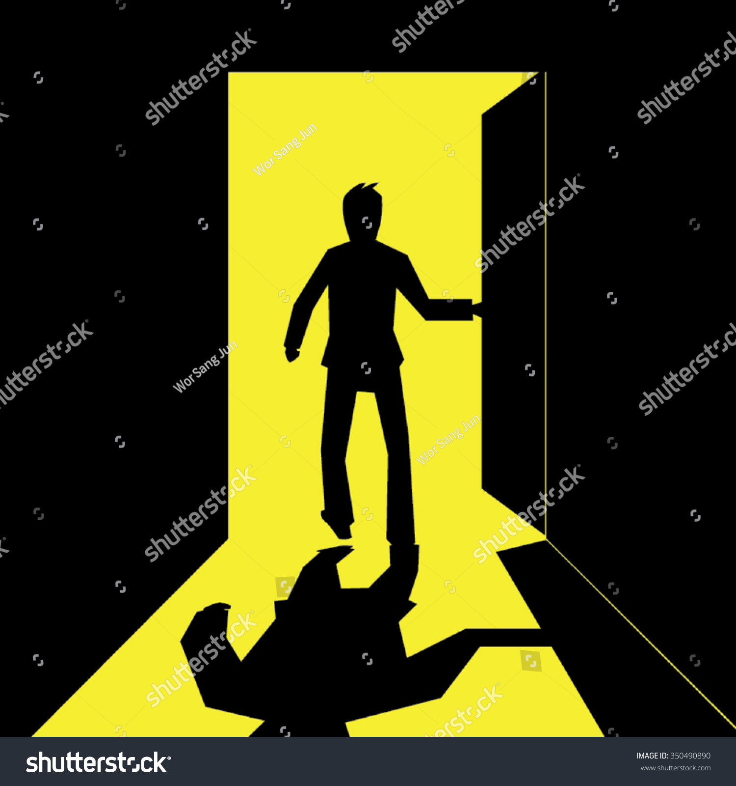 Silhouette Of A Business Man Open And Walking Out The Door