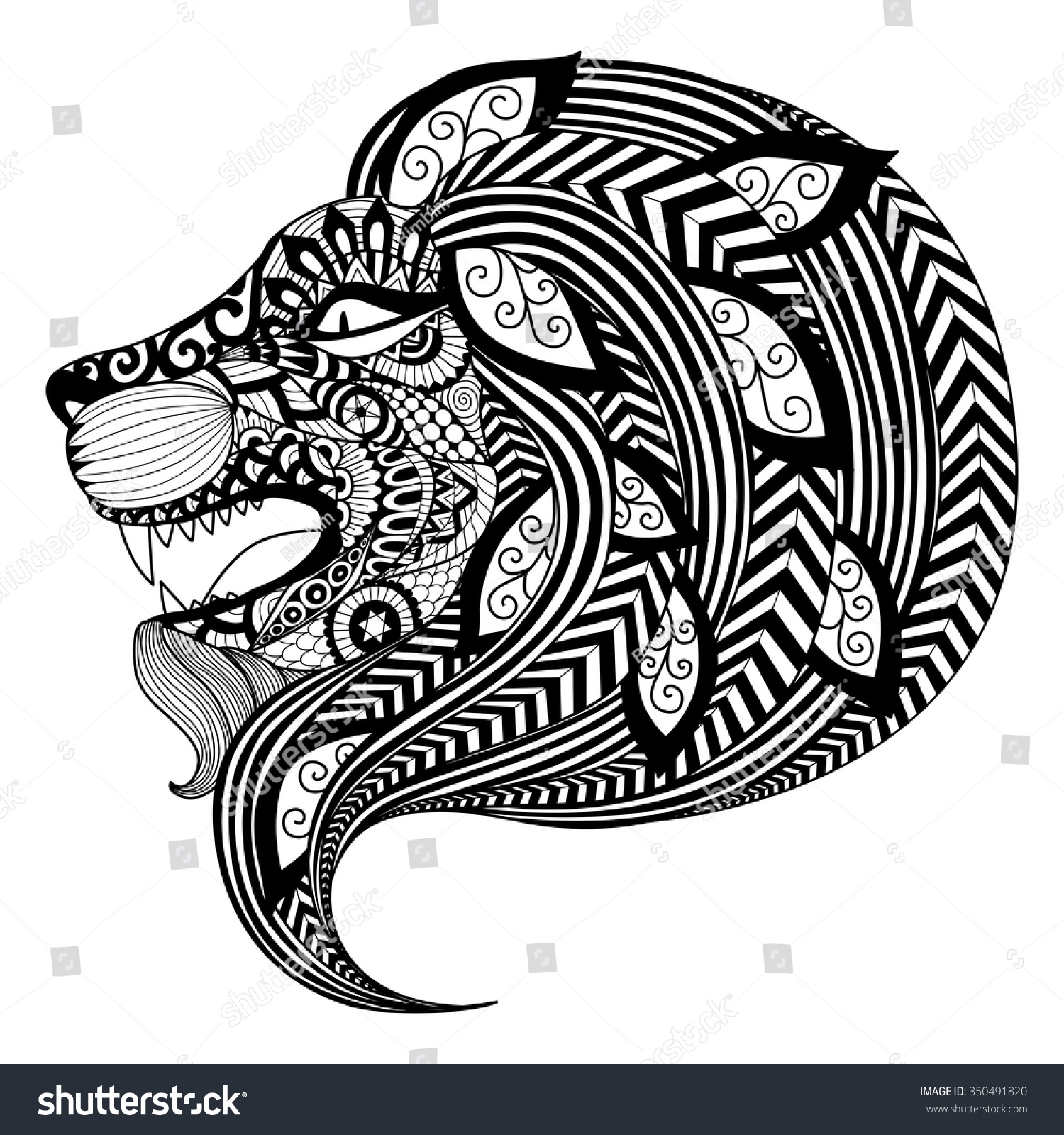 Drawing Zentangle Angry Lion Coloring Book Stock Vector (Royalty ...