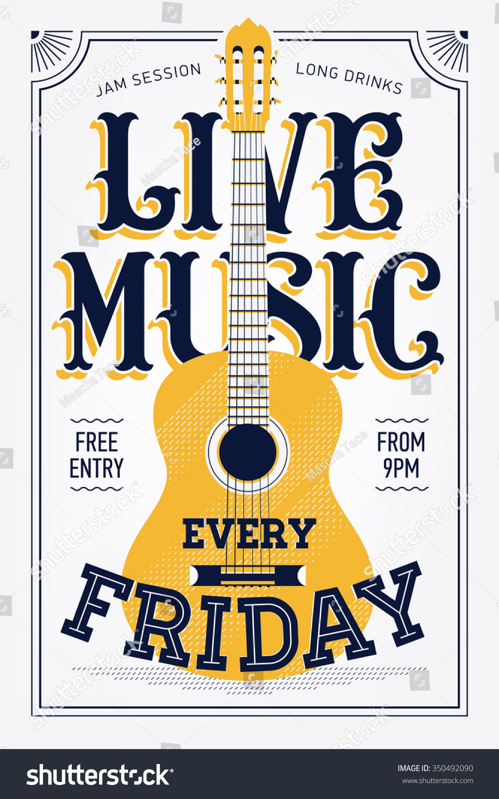 Royalty-free Vintage Live Music Every Friday vector… #350492090 ...