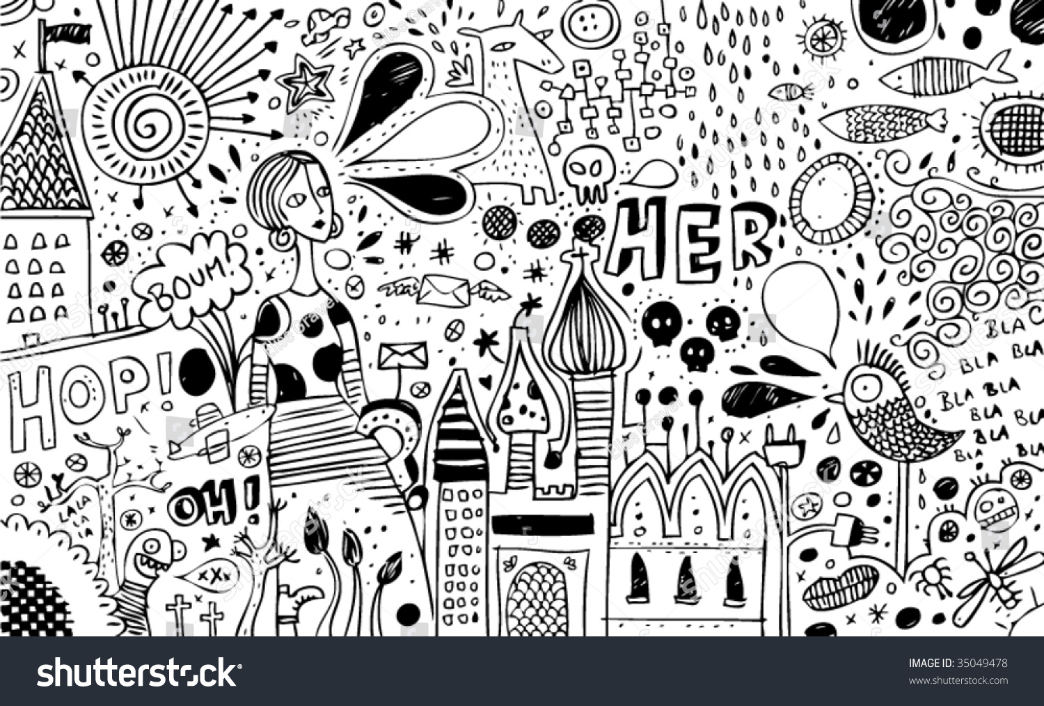 full page bw doodles stock vector royalty free 35049478 shutterstock