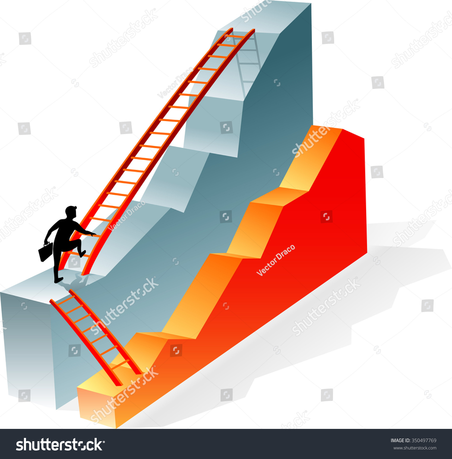 business graph laddermoving higher business growth stock vector business graph and ladder moving up to higher business growth goals