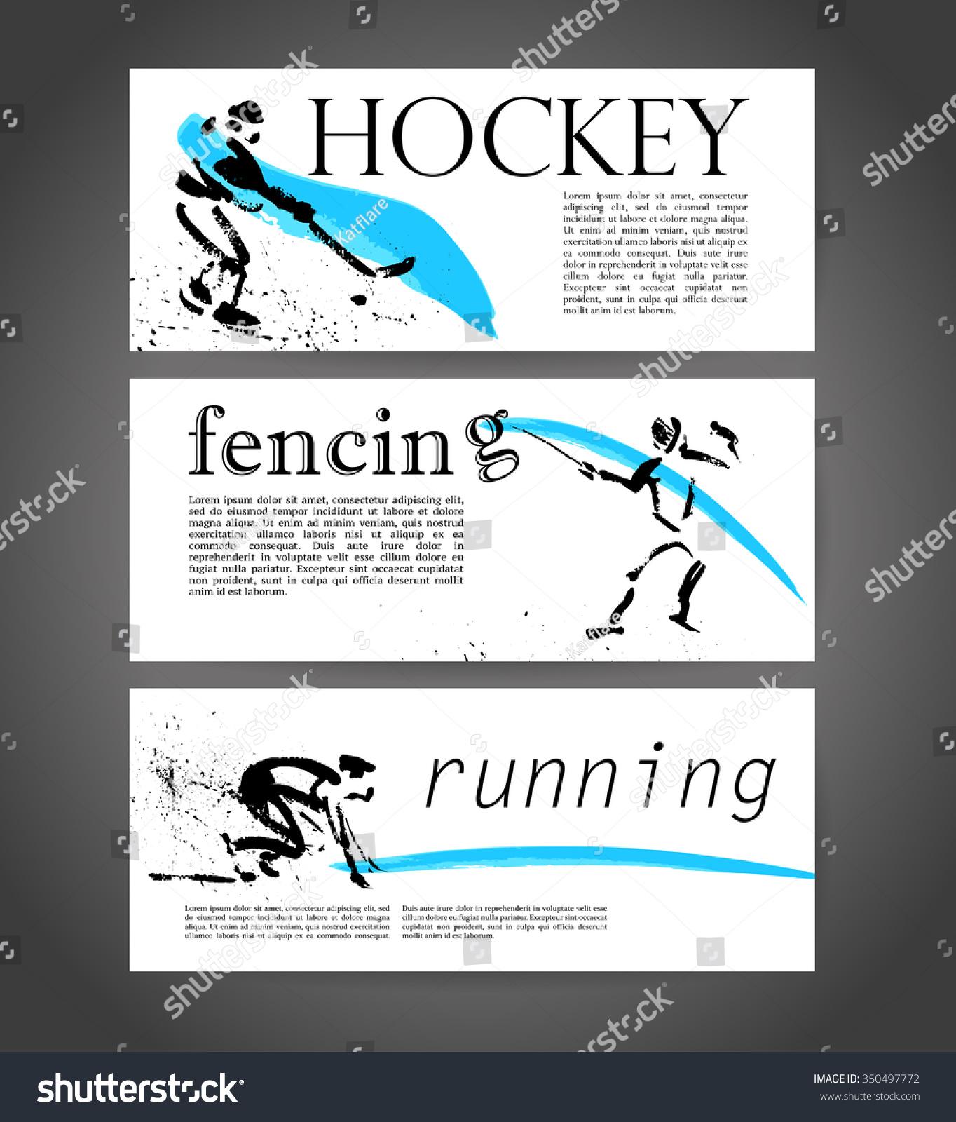 sport advertising template hand drawn athletesのイラスト素材
