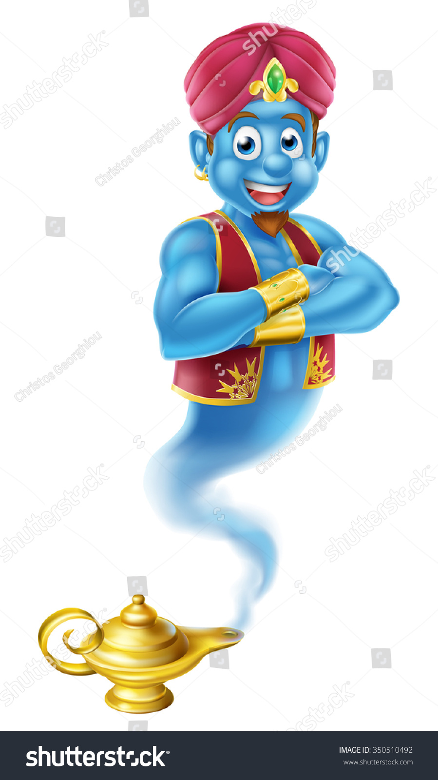 Cartoon Genie Like Story Aladdin Coming Stock Vector 350510492 ... for aladdin genie coming out of lamp  35fsj