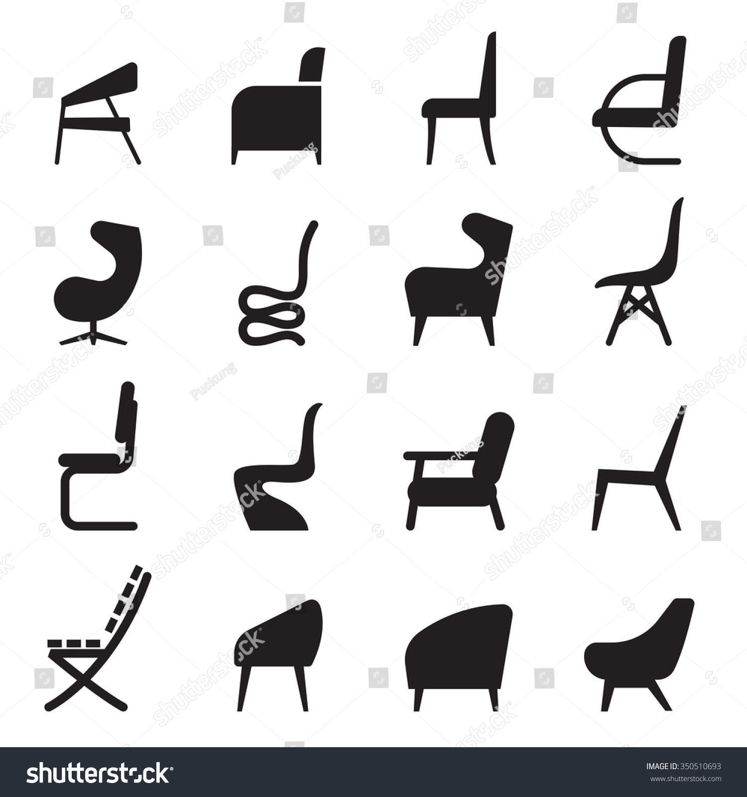 Chair Icons Set Side View Stock Vector 350510693
