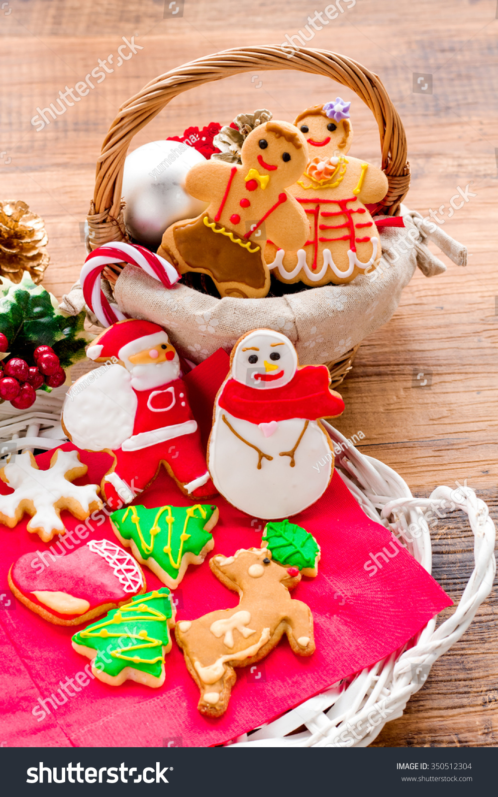 Delicious Christmas Cookies Basket Stock Photo Edit Now 350512304