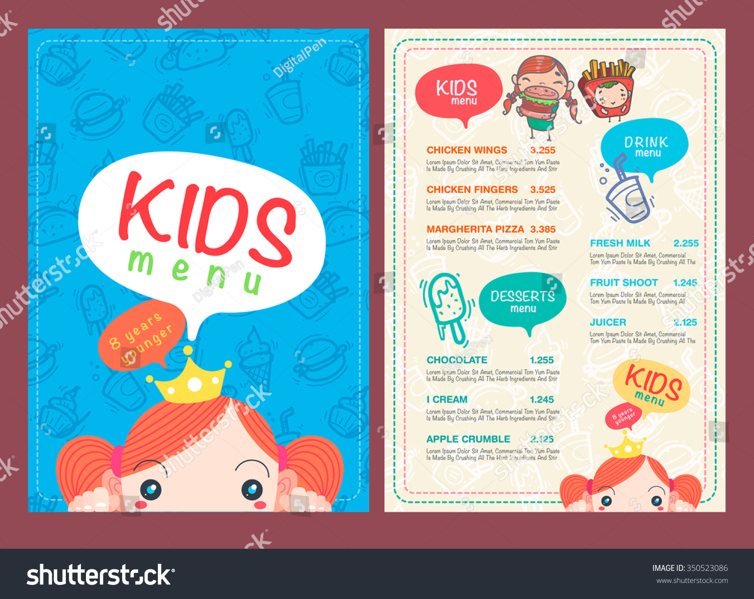 Vector kids menu template hand draw stock vector 350523086 vector kids menu template hand draw stock vector 350523086 shutterstock pronofoot35fo Images