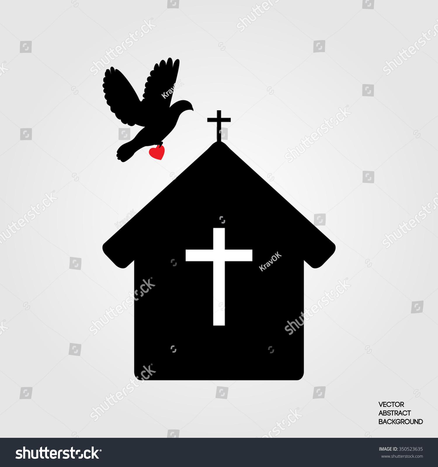 House Prayer Christians Symbol Christianity Pigeon Stock Vector