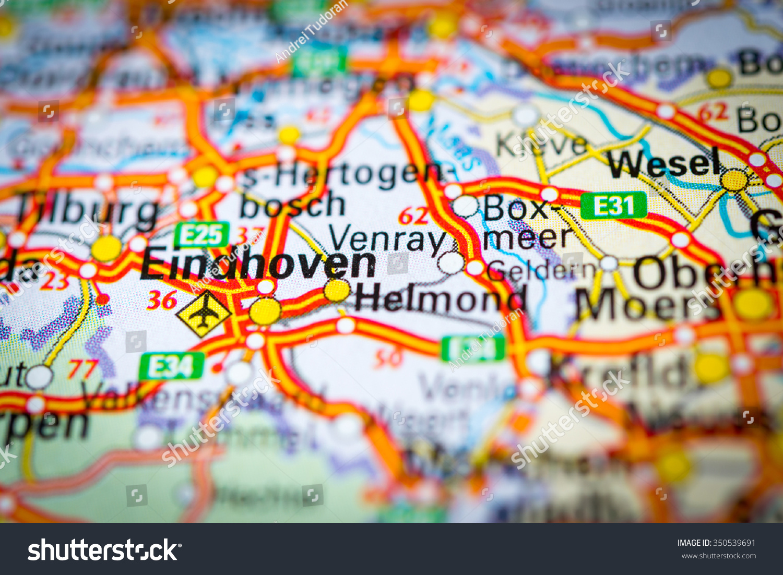 Macro view of Eindhoven, Netherlands on map. (vignette)   EZ Canvas