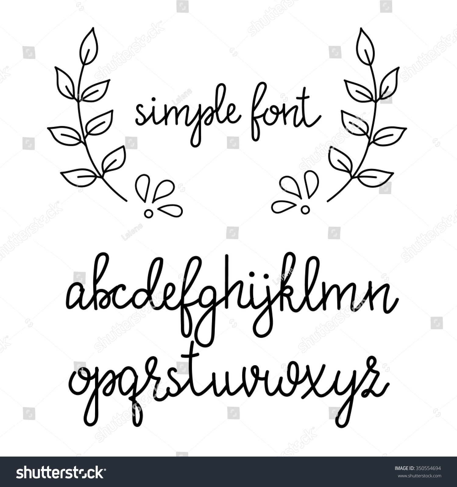 Simple Handwritten Pointed Pen Calligraphy Cursive Font Alphabet Cute Letters Isolated