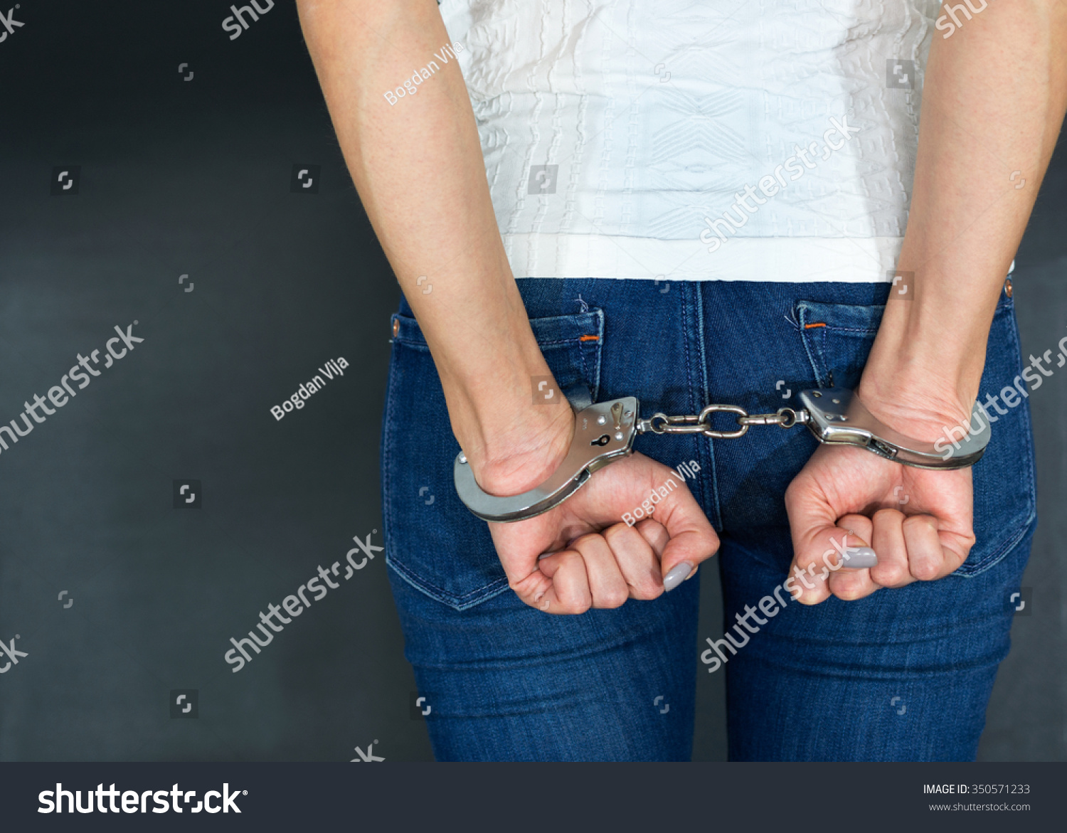 Young Caucasian Women Arrested Handcuffs Stock Photo 350571233 ...