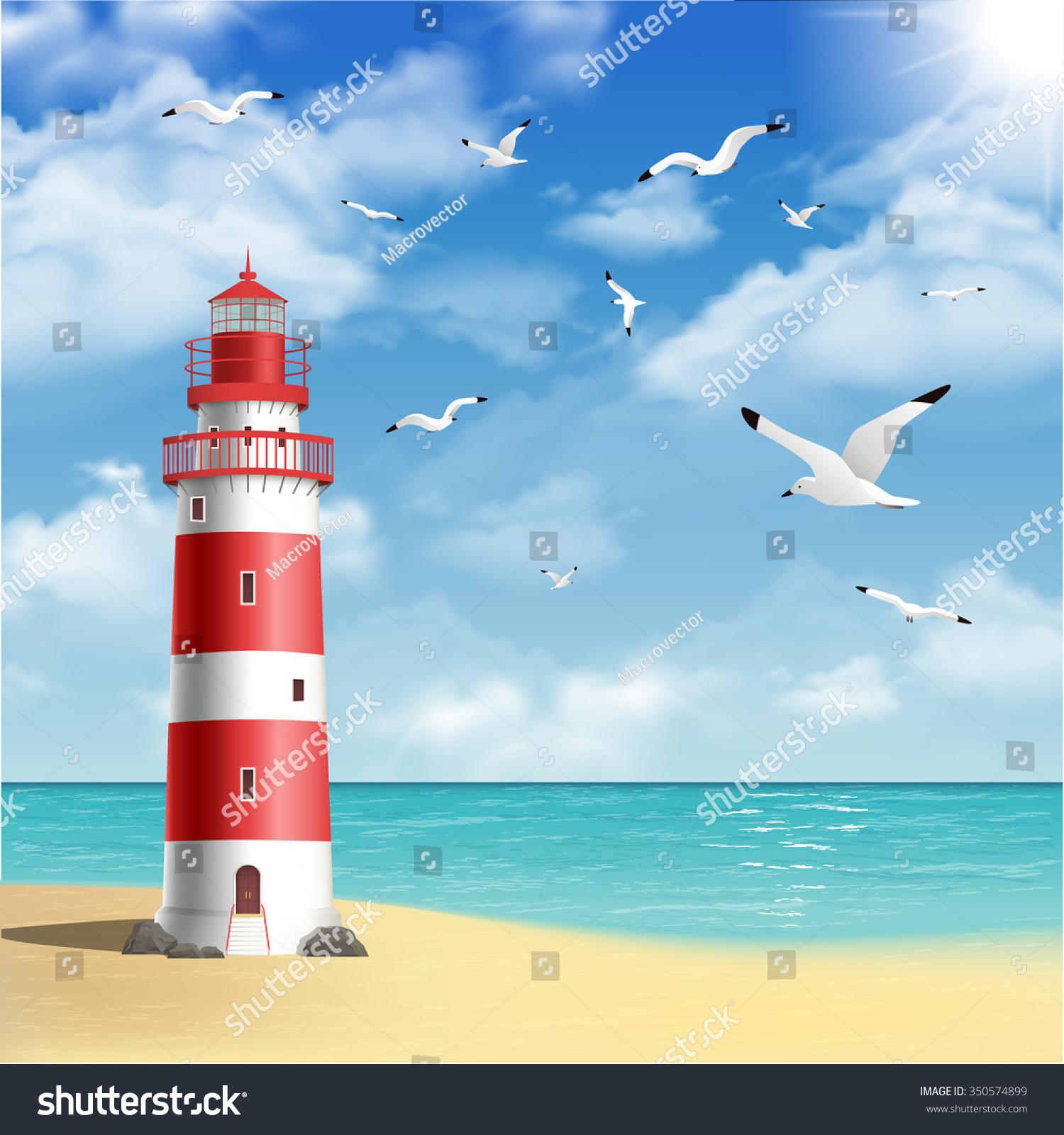 Realistic Lighthouse On Beach Seagulls Ocean Stock Vector