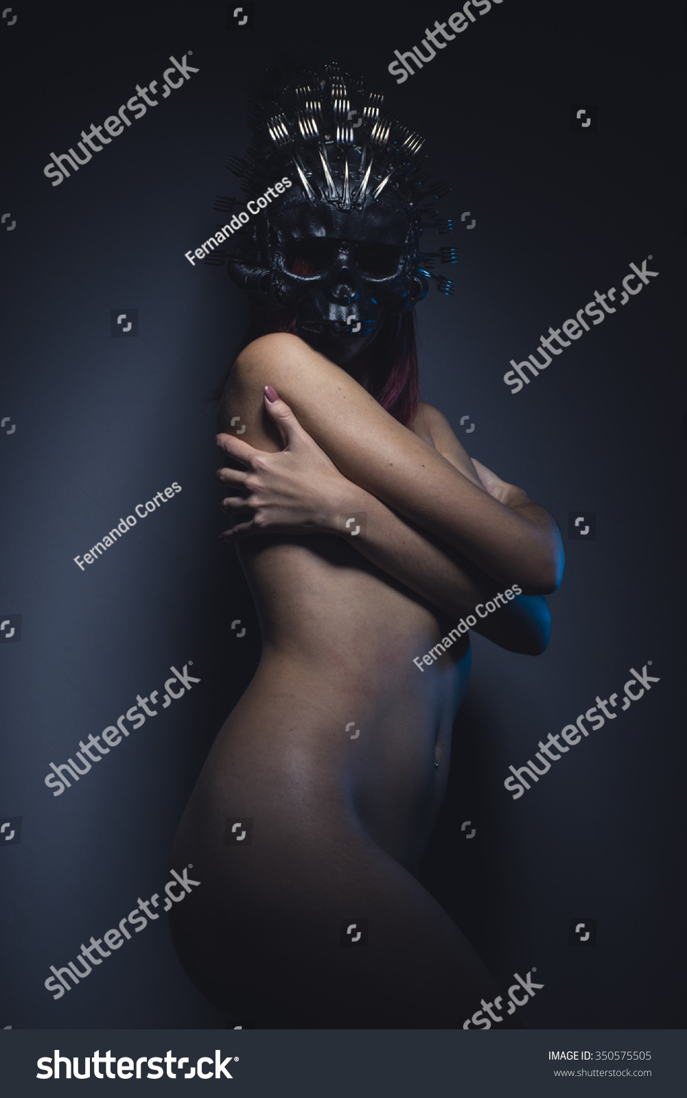 Alien Nude Girls girl alien woman naked helmeted skull stock photo (edit now