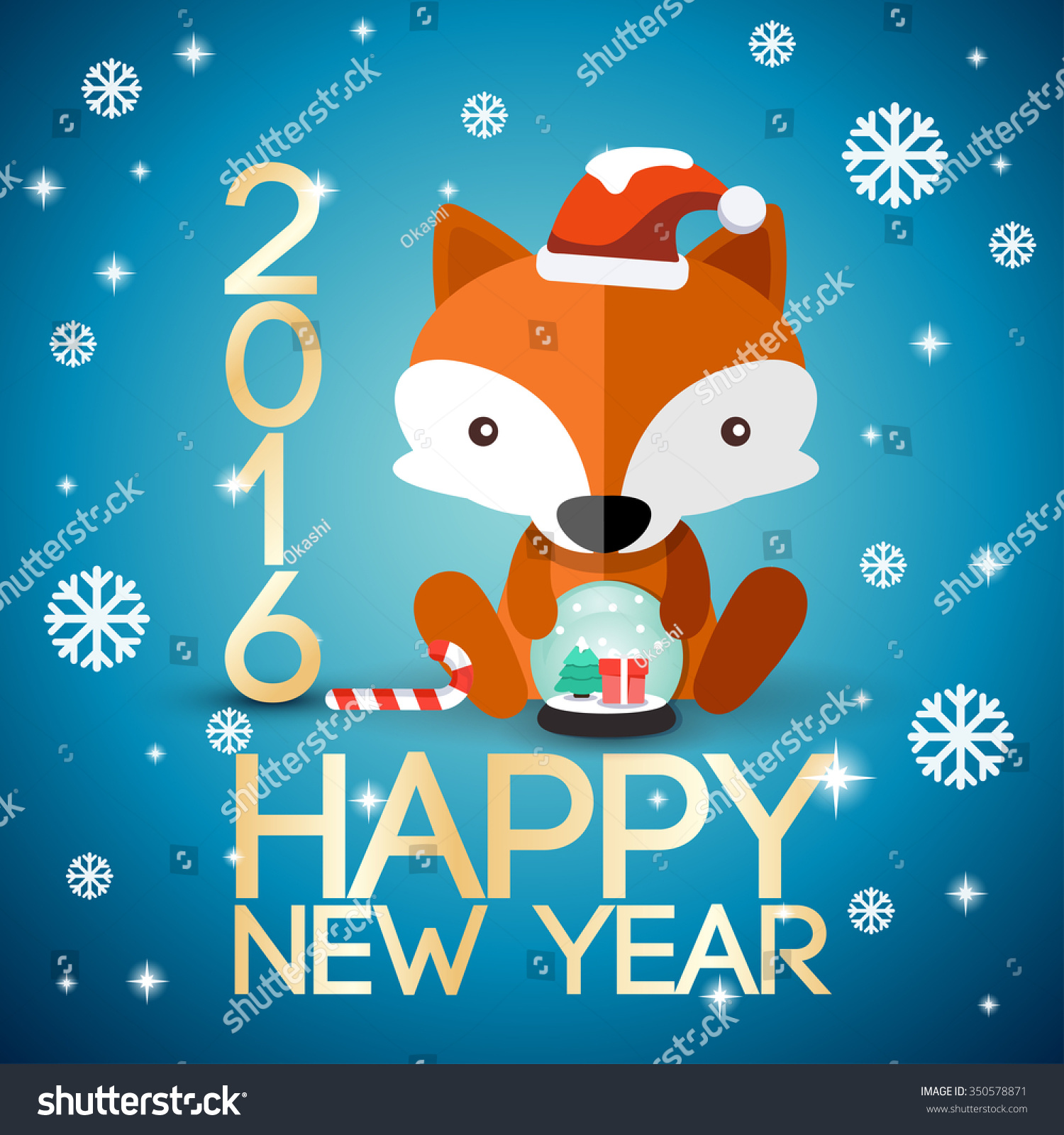 Adorable baby animal on 2016 new year greeting card for Wildlife christmas cards 2016