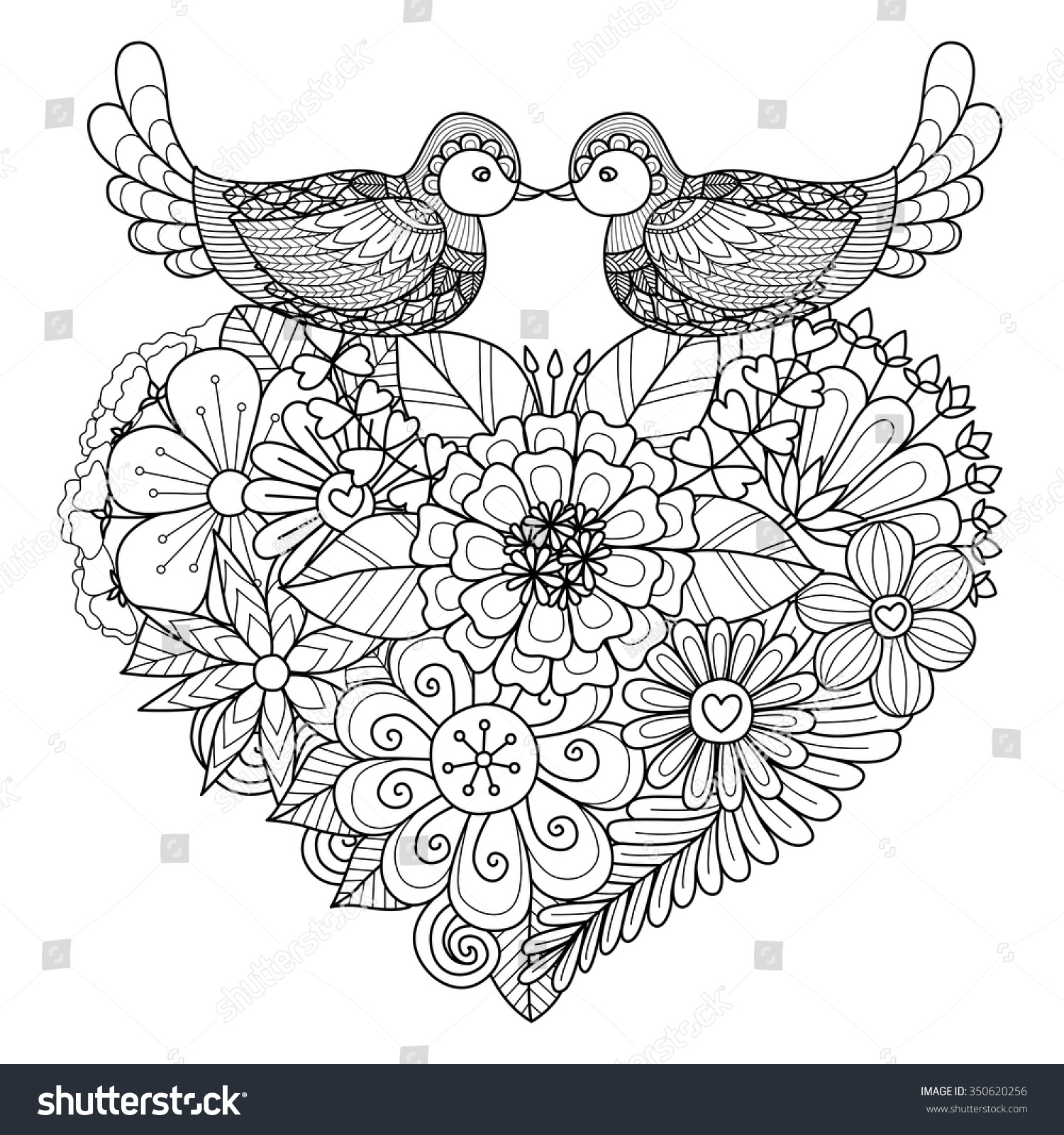 birds kissing on floral heart shape stock vector 350620256
