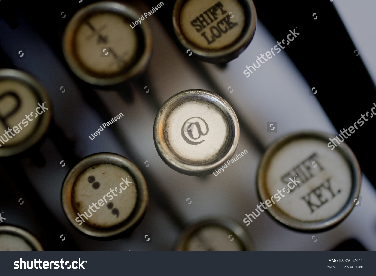 At Symbol On Old Typewriter Keyboard Stock Photo Royalty Free