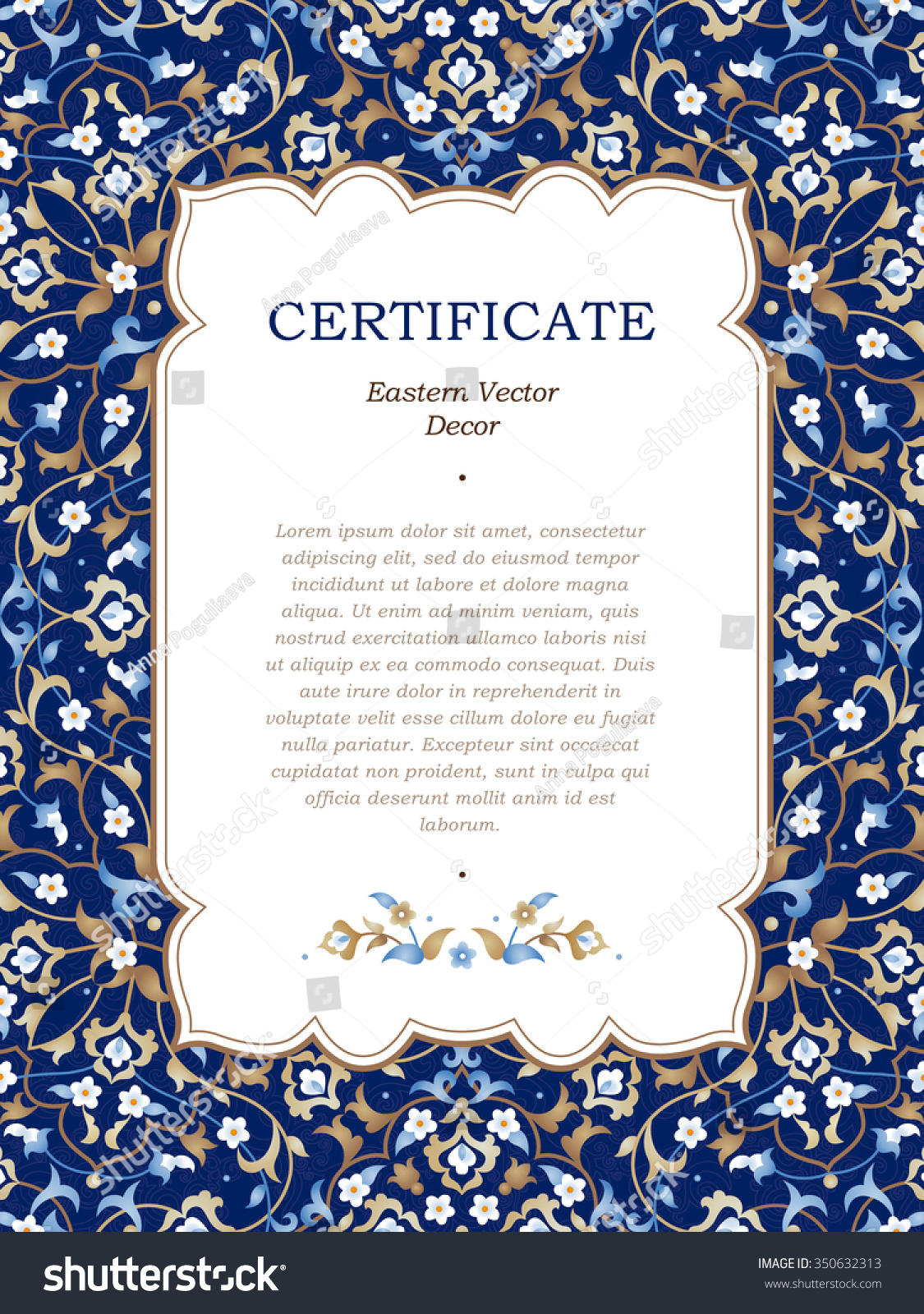 Certificate official certificate template business invoice template official certificate template contract for services template stock vector vector floral frame in eastern style certificate xflitez Gallery