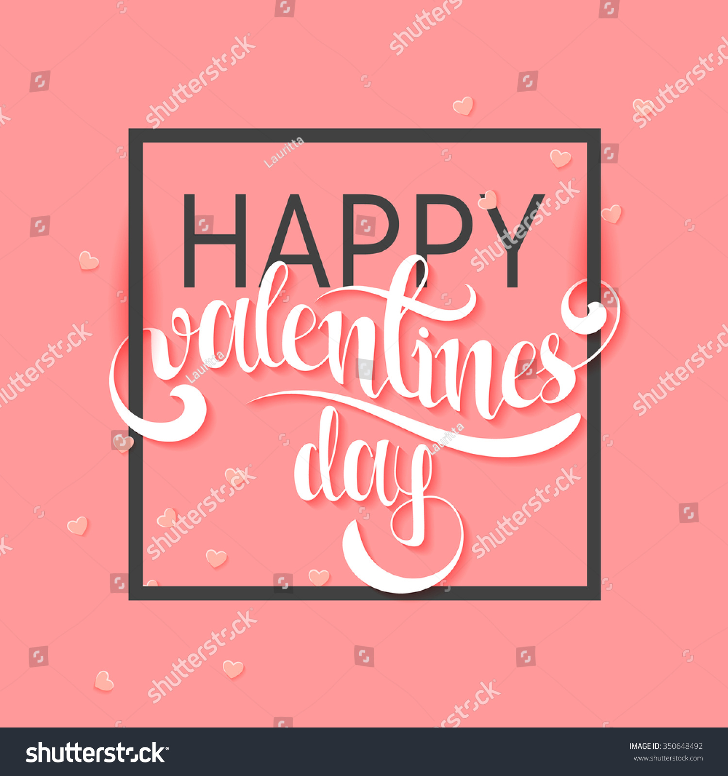happy valentine day pink phrase handmade stock vector 350648492
