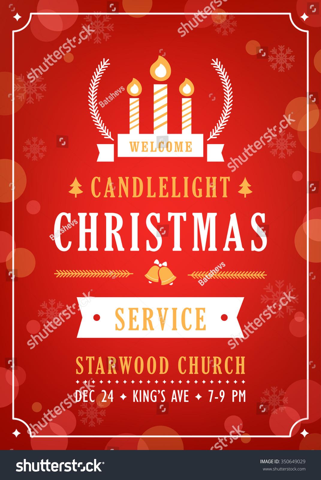 Christmas Candlelight Service Church Invitation Stock Vector ...