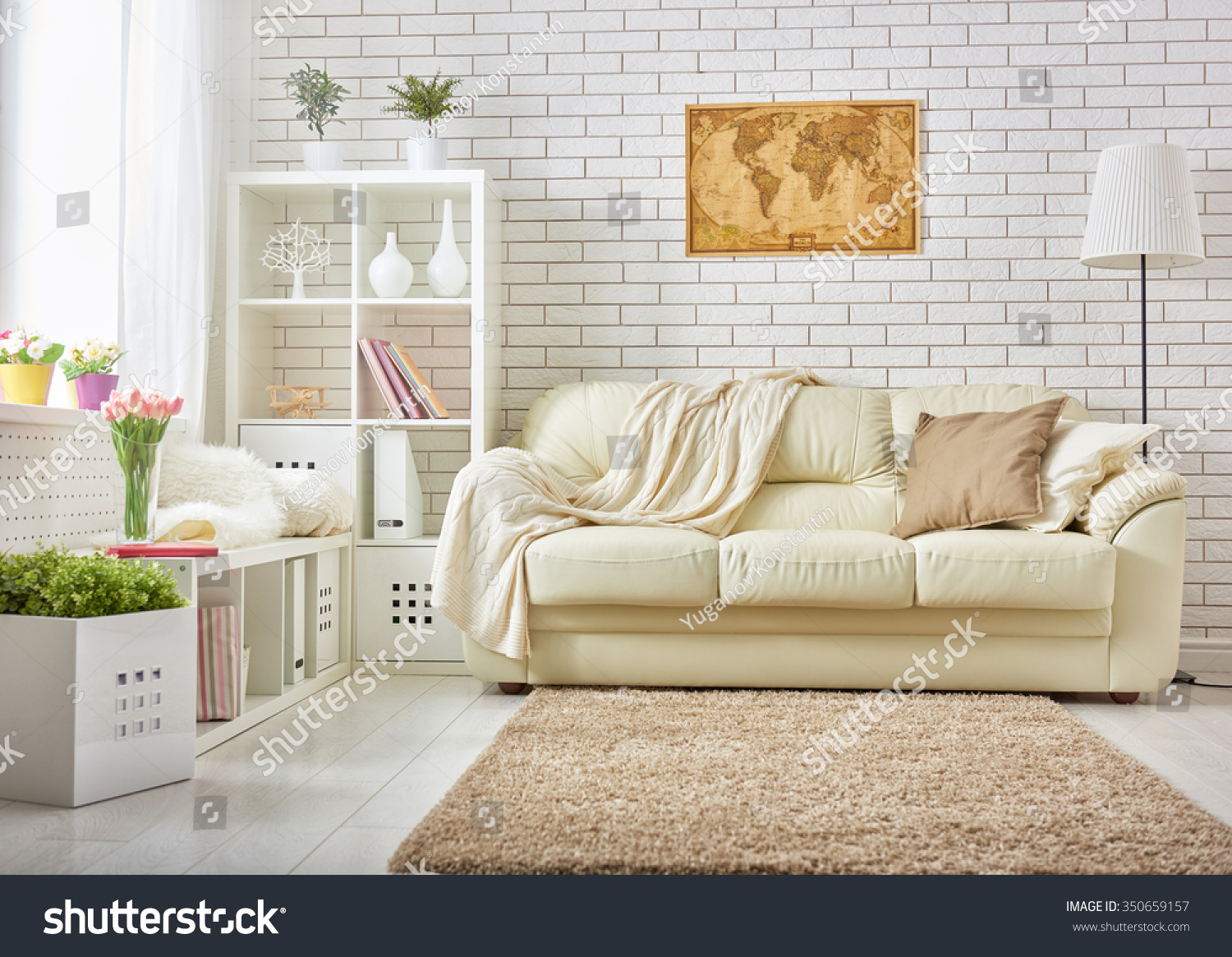 Modern Living Room Bright Colors Stock Photo (100% Legal Protection ...