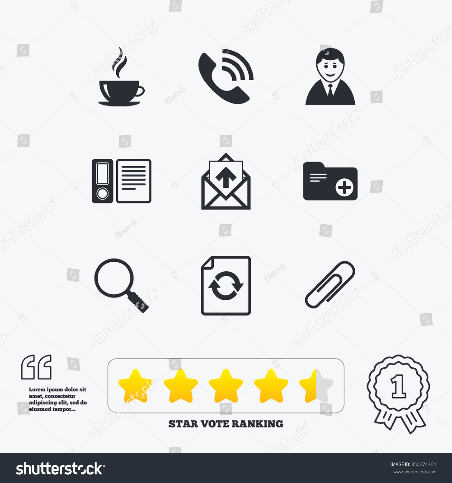 Phone Call Quotes Office Documents Business Icons Coffee Phone Stock Illustration