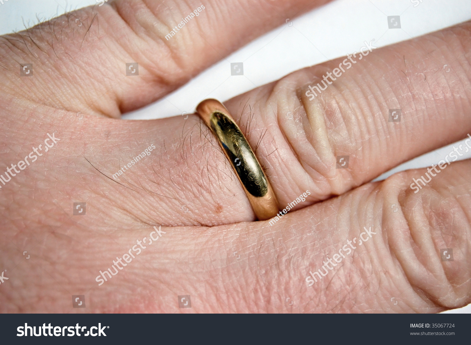 Closeup Mans Hand Gold Wedding Ring Stock Photo (Edit Now) 35067724 ...