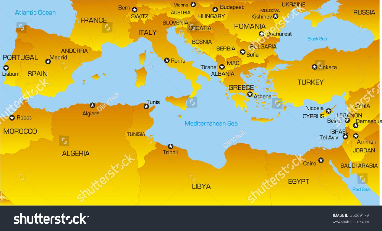 Vector Color Map Mediterranean Region Countries Stock Vector ...