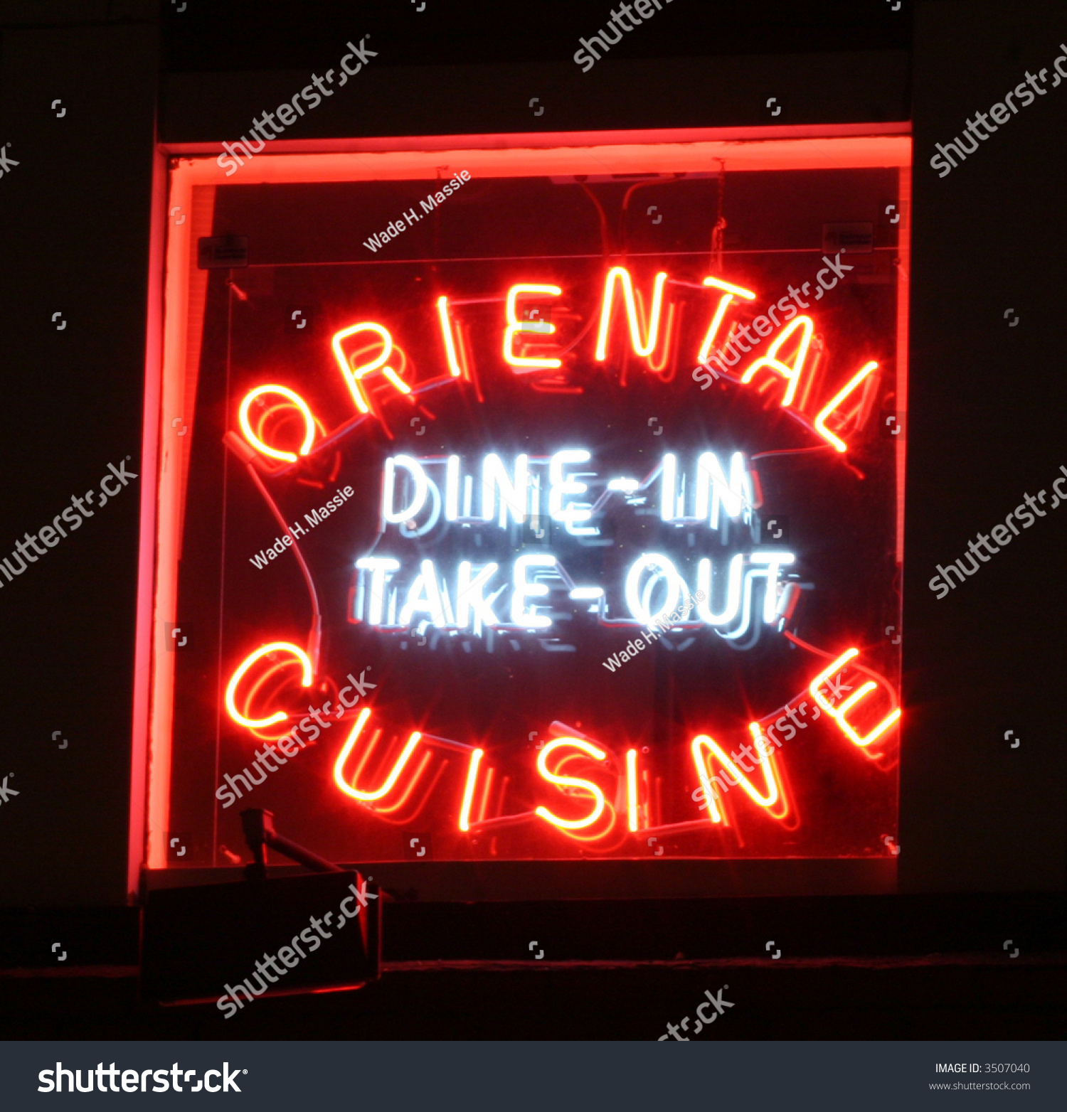 Neon Oriental Cuisine Sign Stock Photo 3507040