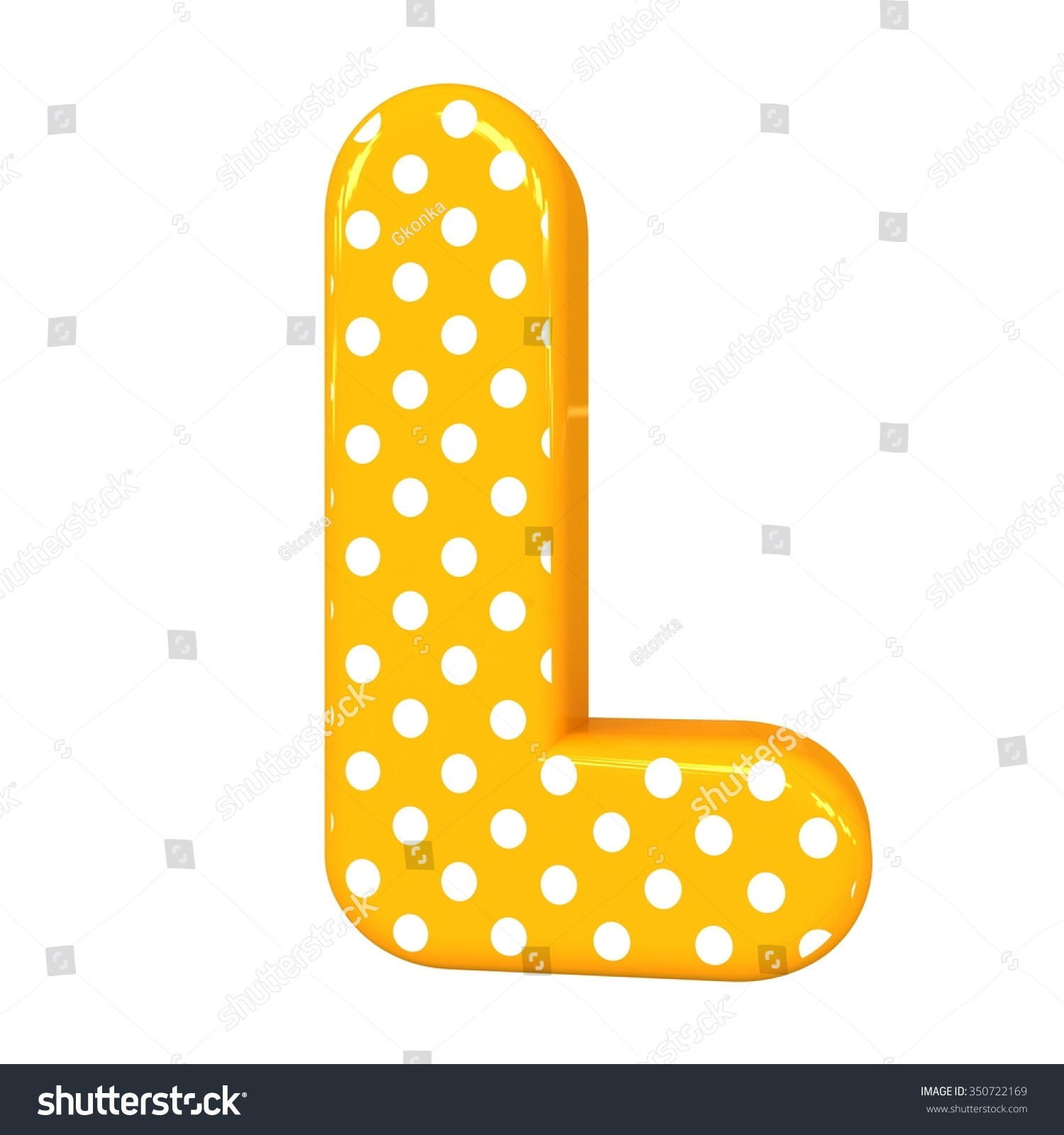 3 d polka dots letter l orange stock illustration 350722169