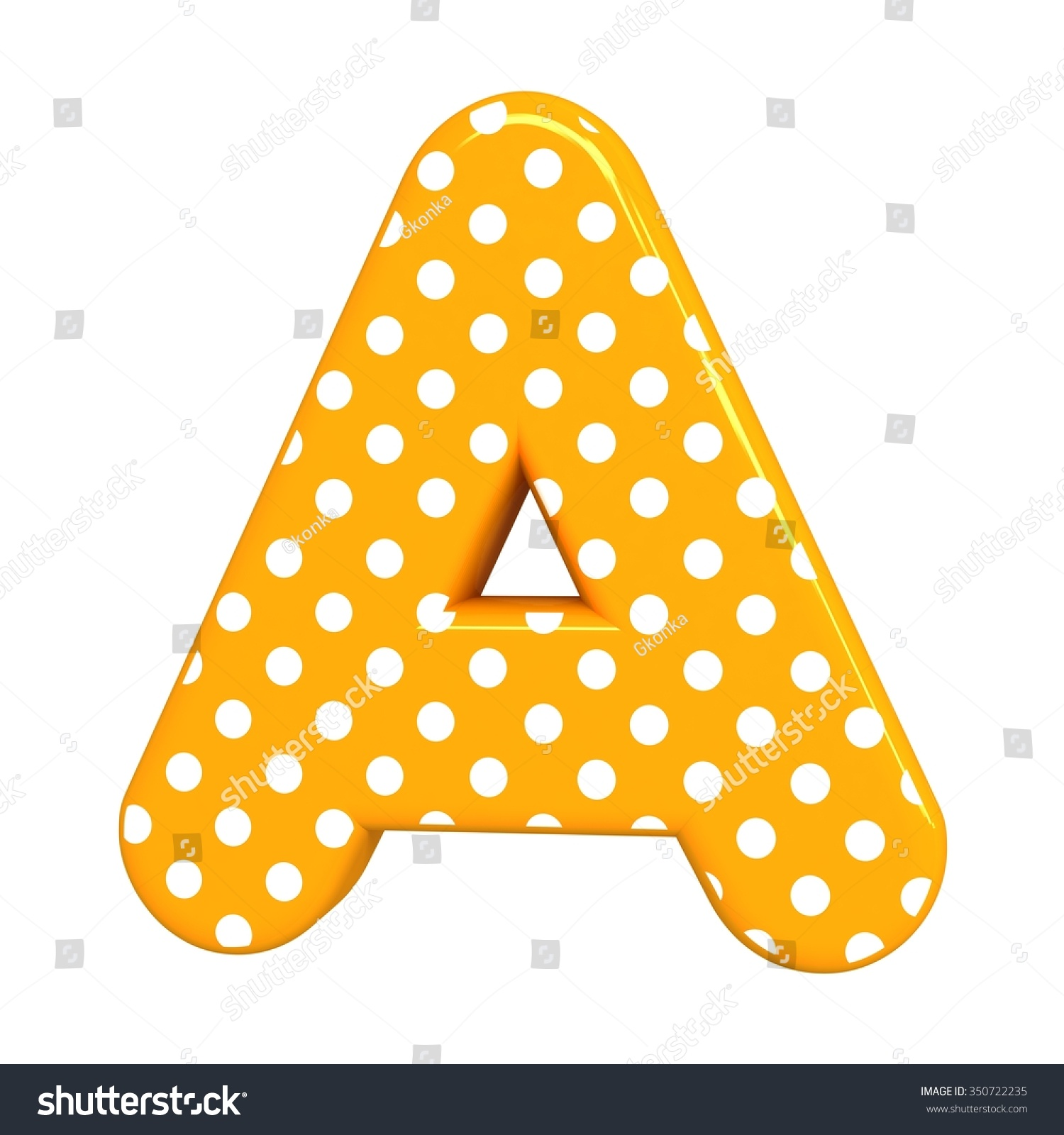 3 d polka dots letter orange funny stock illustration 350722235