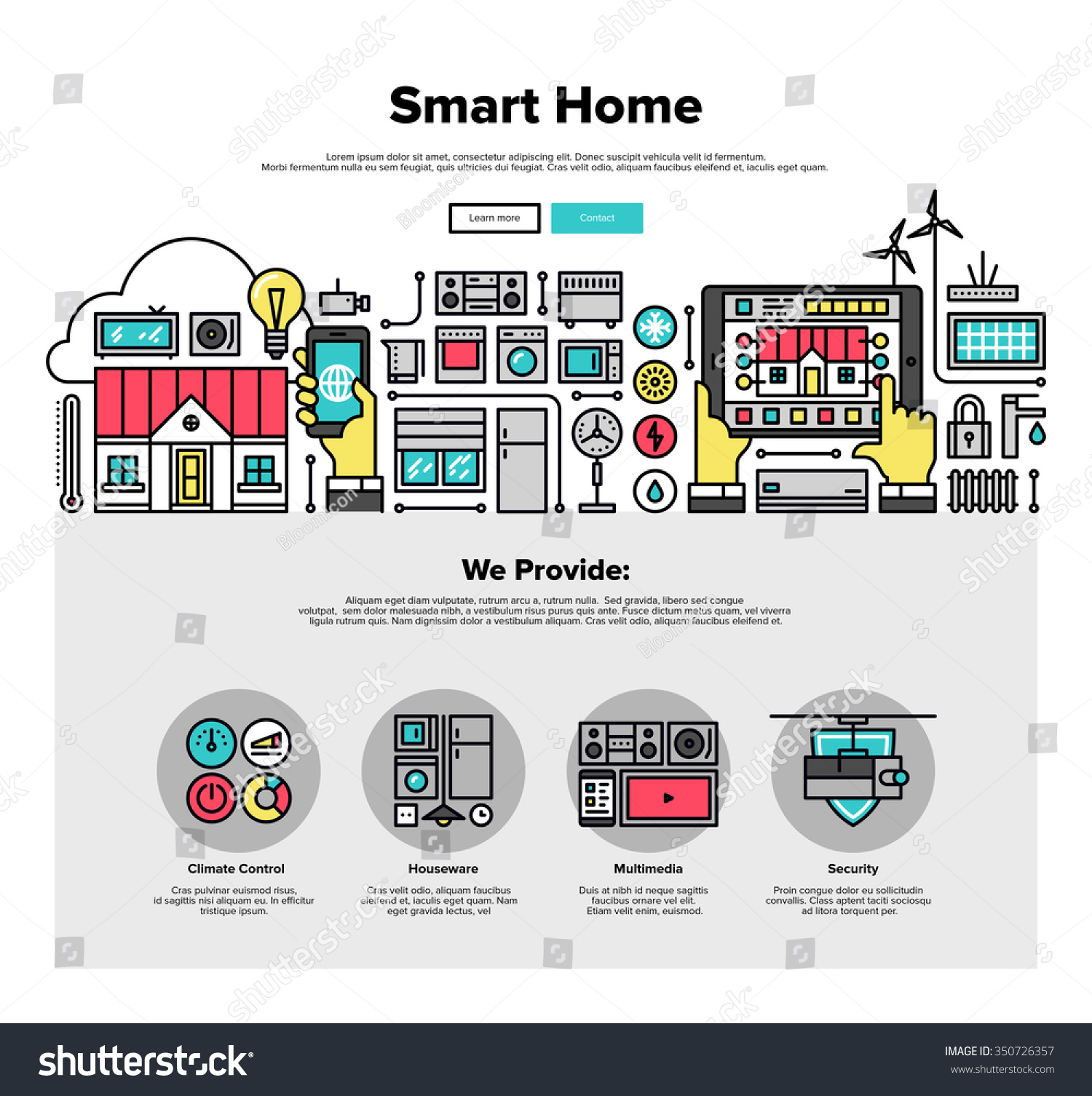 One page web design template thin stock vector 350726357 shutterstock - How to design a smart home ...