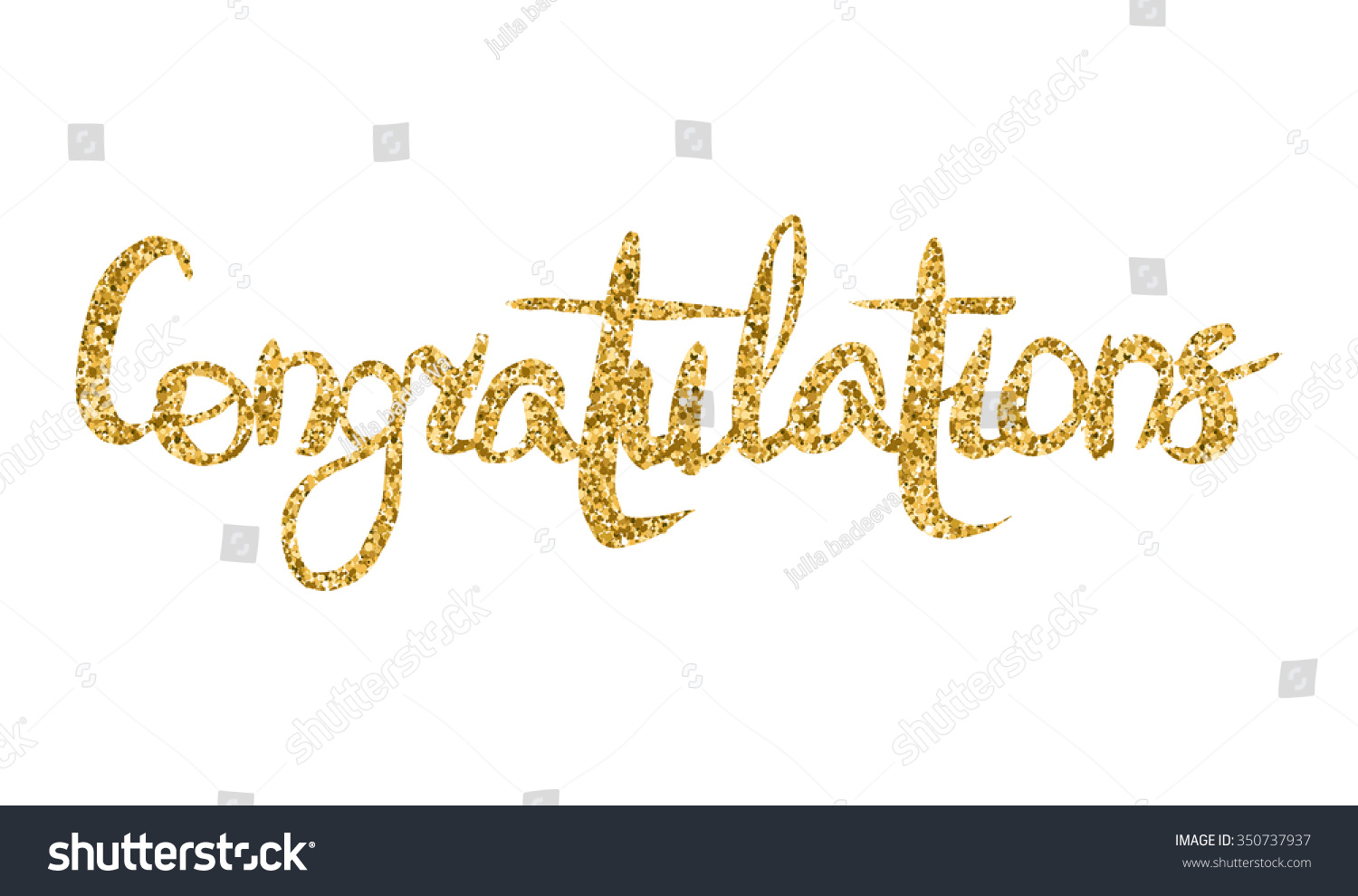 word congratulations gold texture hand lettering stock vector