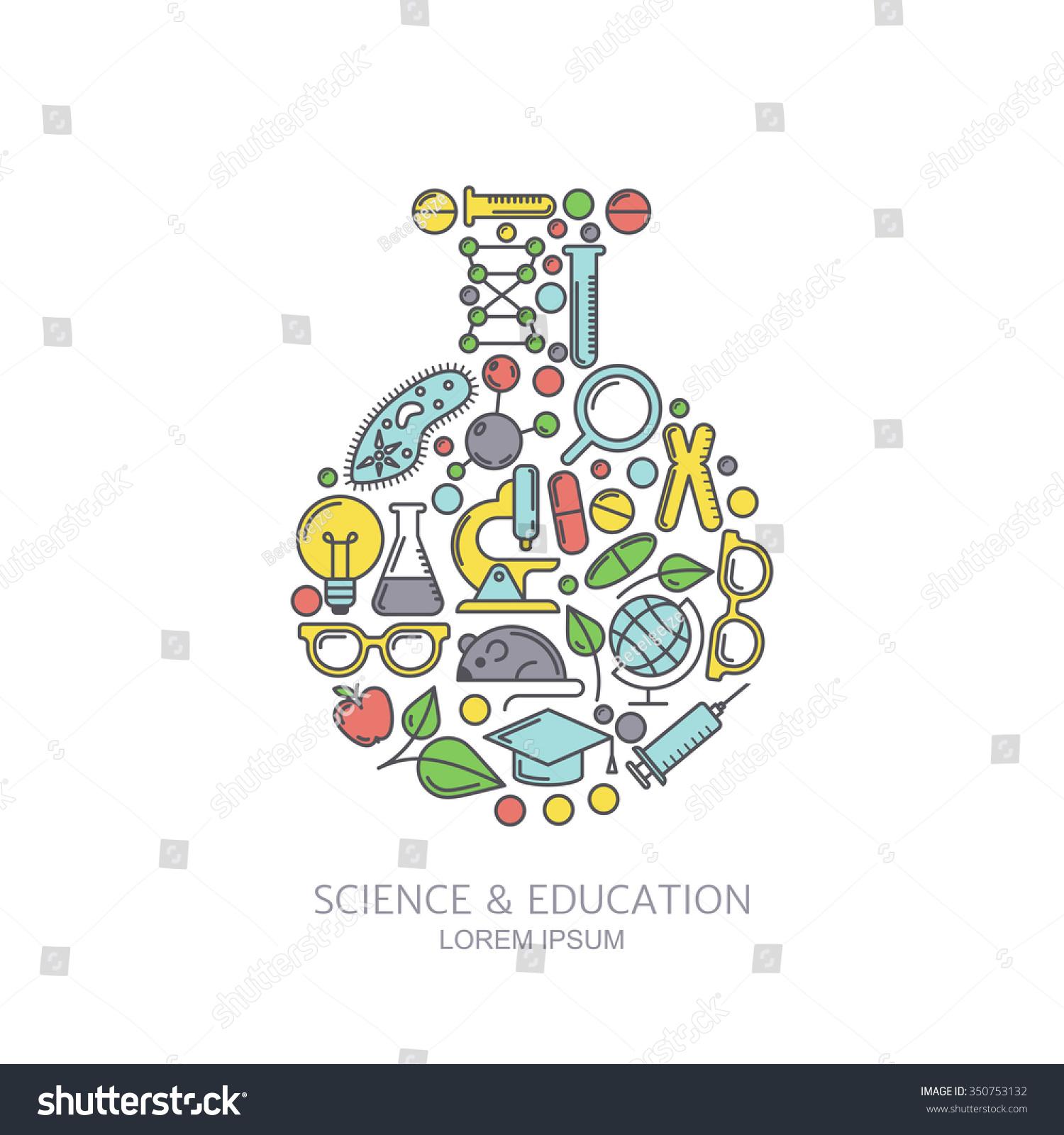 Science Laboratory Background Design: Vector Laboratory Background Line Icons Set Stock Vector