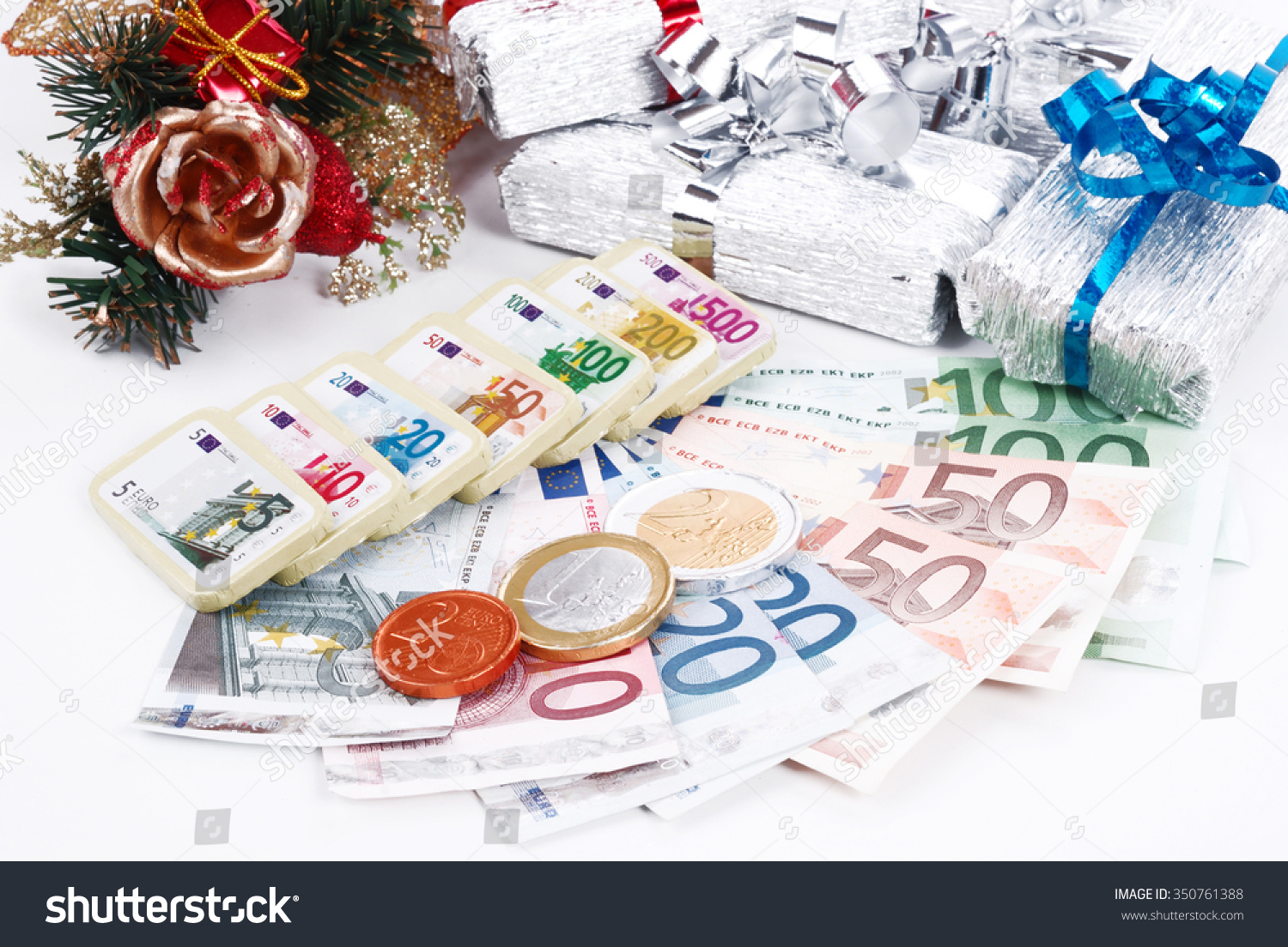 Real Fake Money Christmas Gifts Chocolate Stock Photo (Edit Now ...