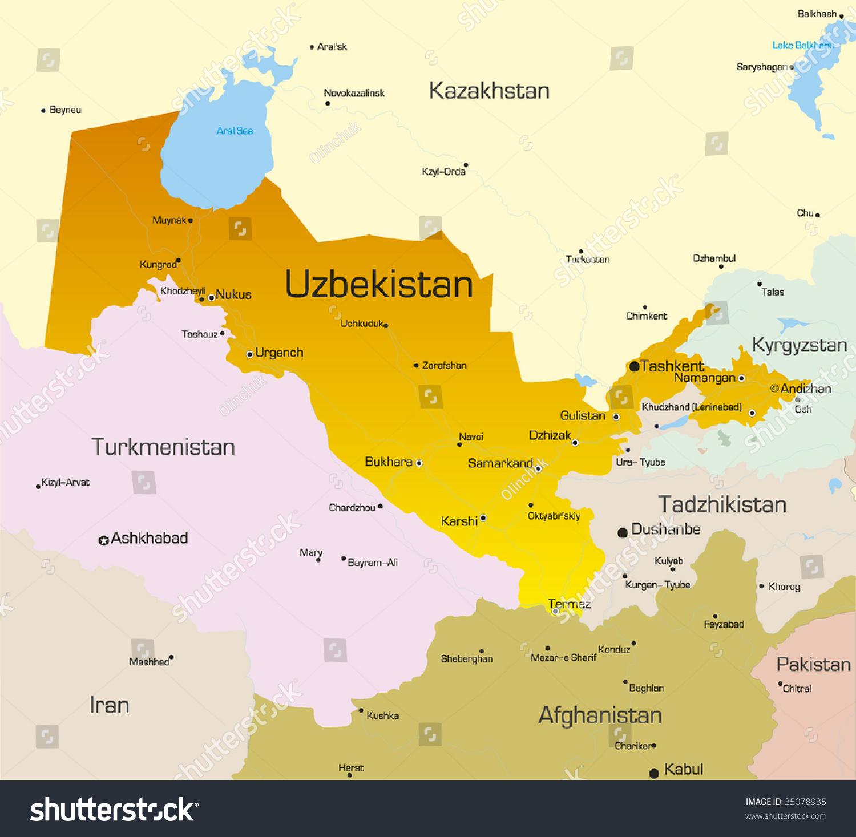 Vector Color Map Uzbekistan Country Stock Vector 2018 35078935