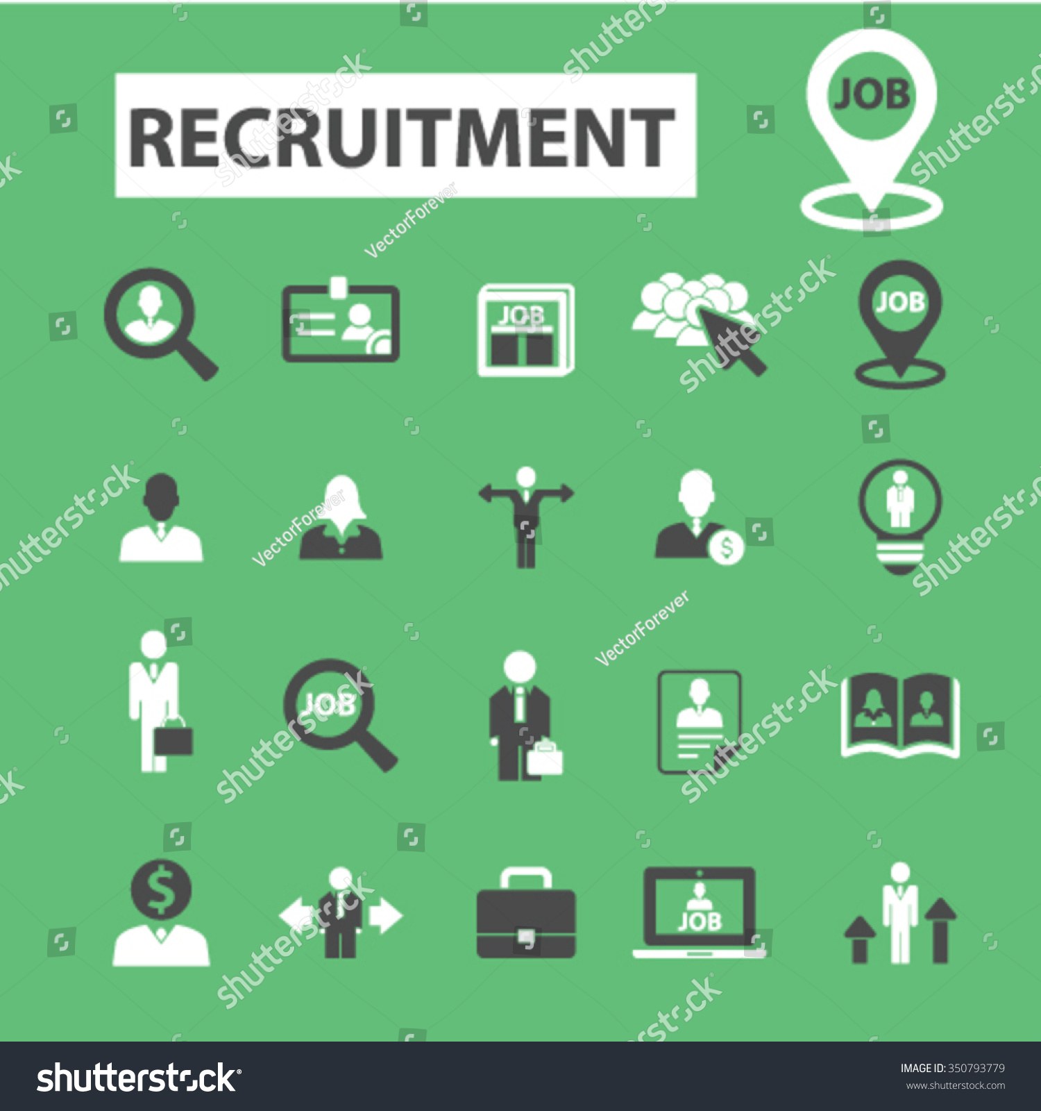 recruitment headhunter job icons signs vector concept set for recruitment headhunter job icons signs vector concept set for infographics mobile website application 350793779 shutterstock