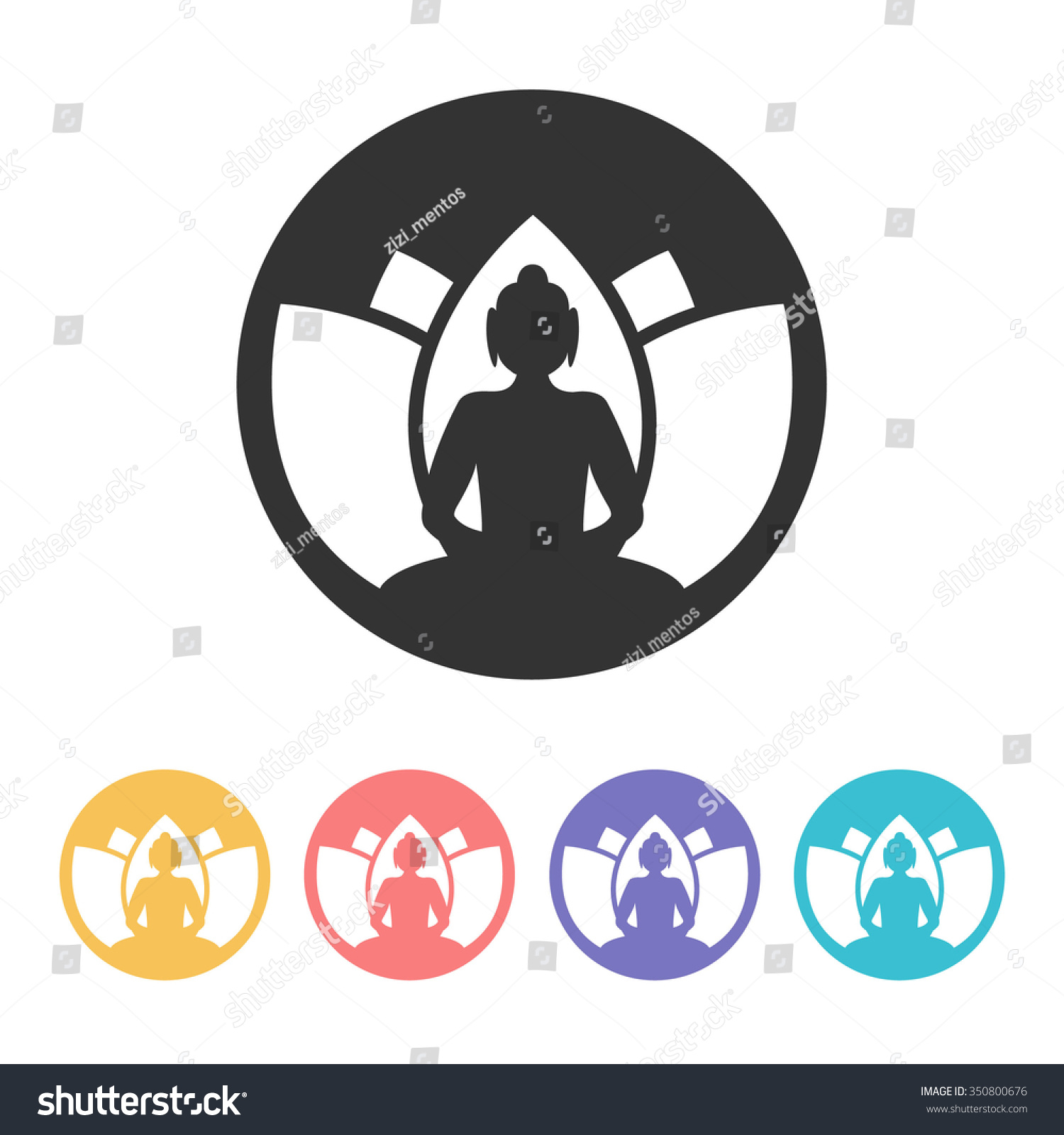 Buddha With Lotus Flower Logo Design Vector Illustration Ez Canvas