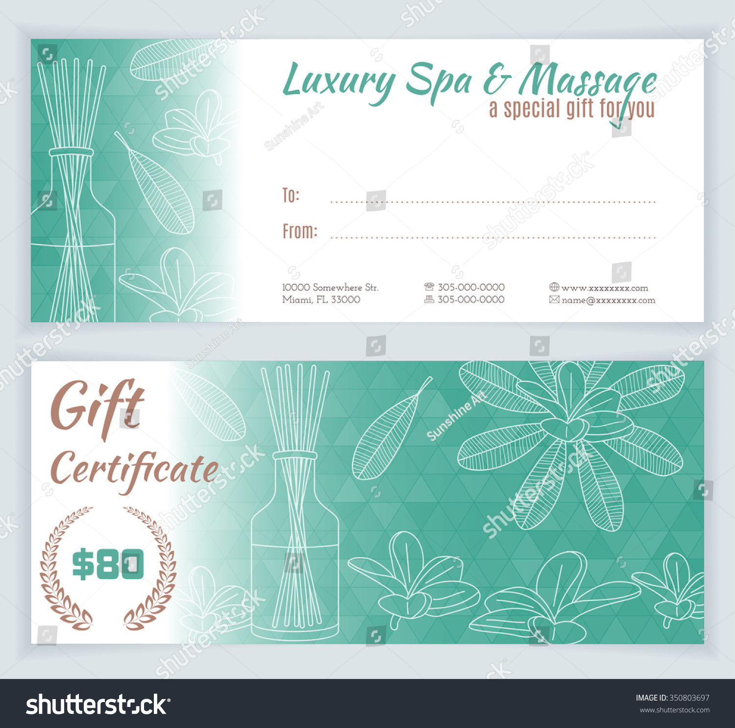 Royalty free spa massage gift certificate template 350803697 spa massage gift certificate template with hand drawn reed fragrance diffuser for invitation xflitez Images