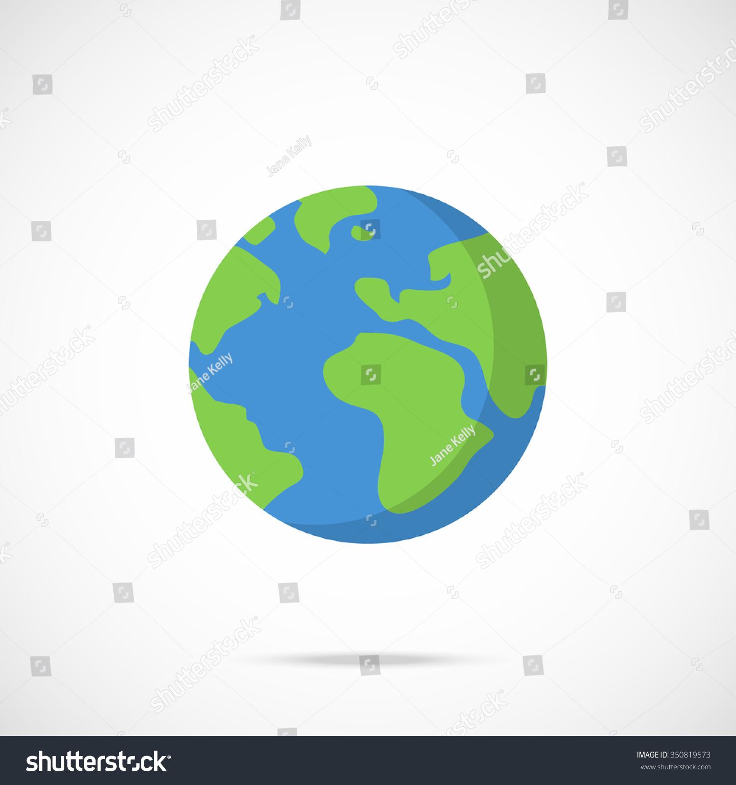 Set globe earth icon flat style on white background ...   Earth Flat Icon Eps