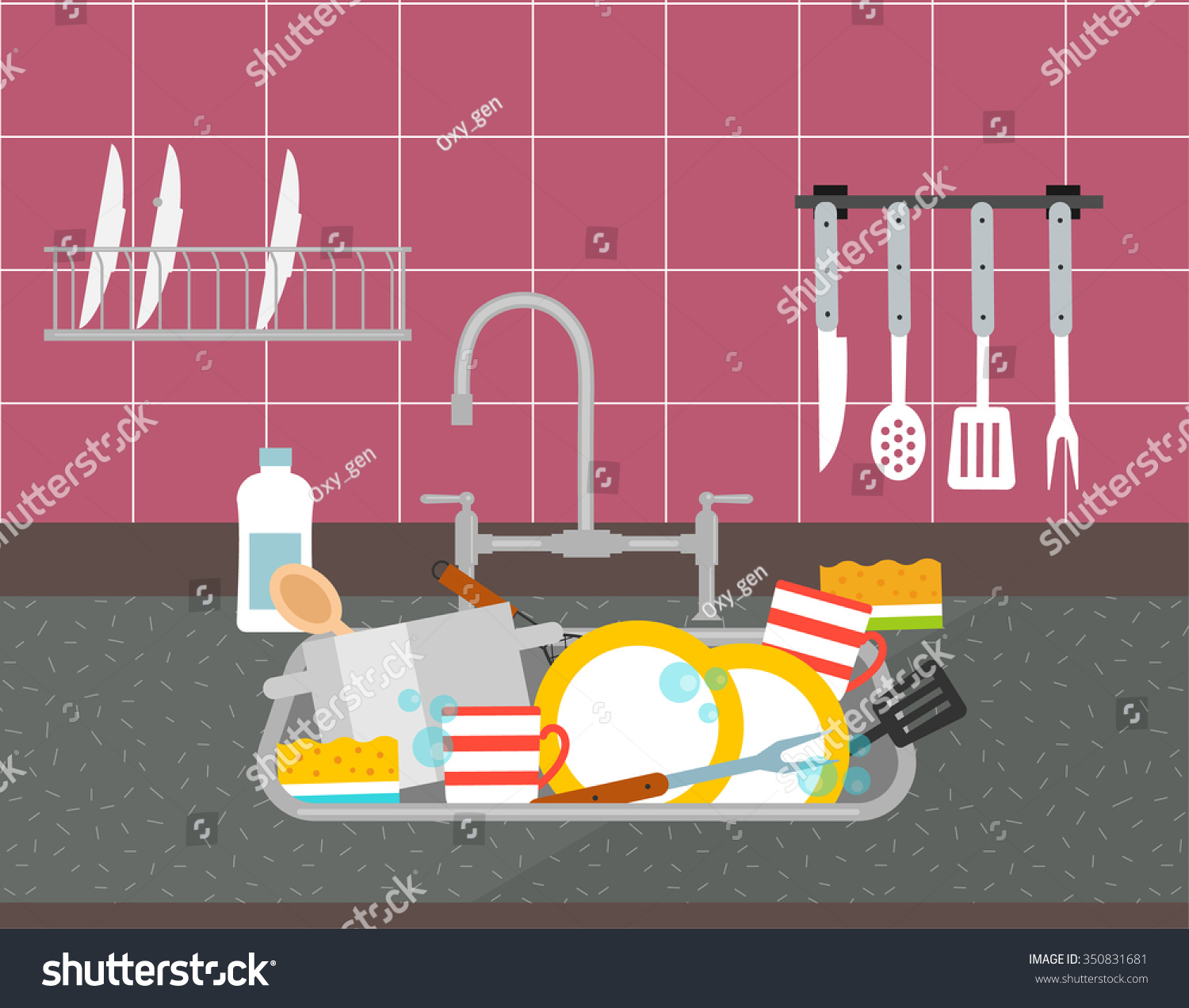 Kitchen Sink Dirty Dishes Vector Illustration Stock Vector