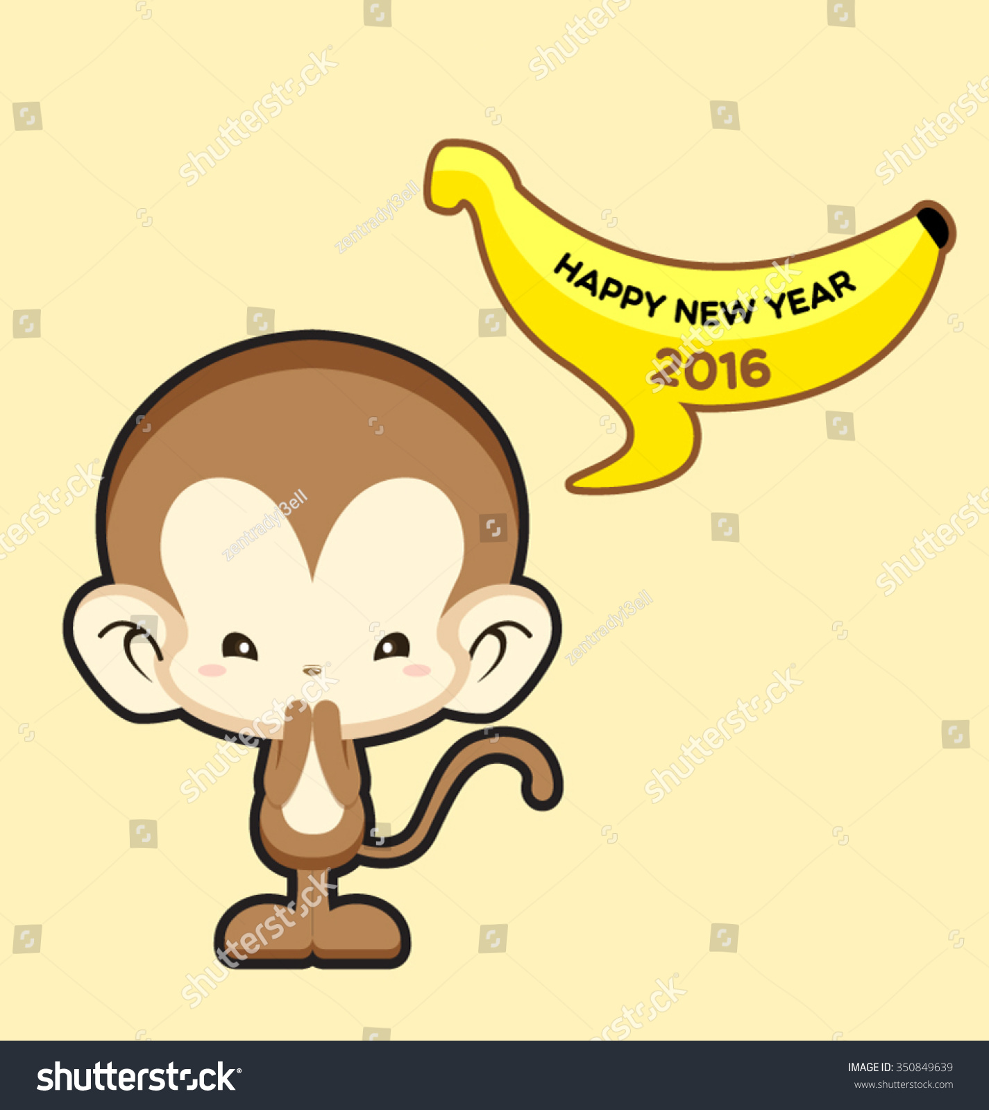 happy new year greeting card with cute monkey saying happy new year 2016 vector illustration