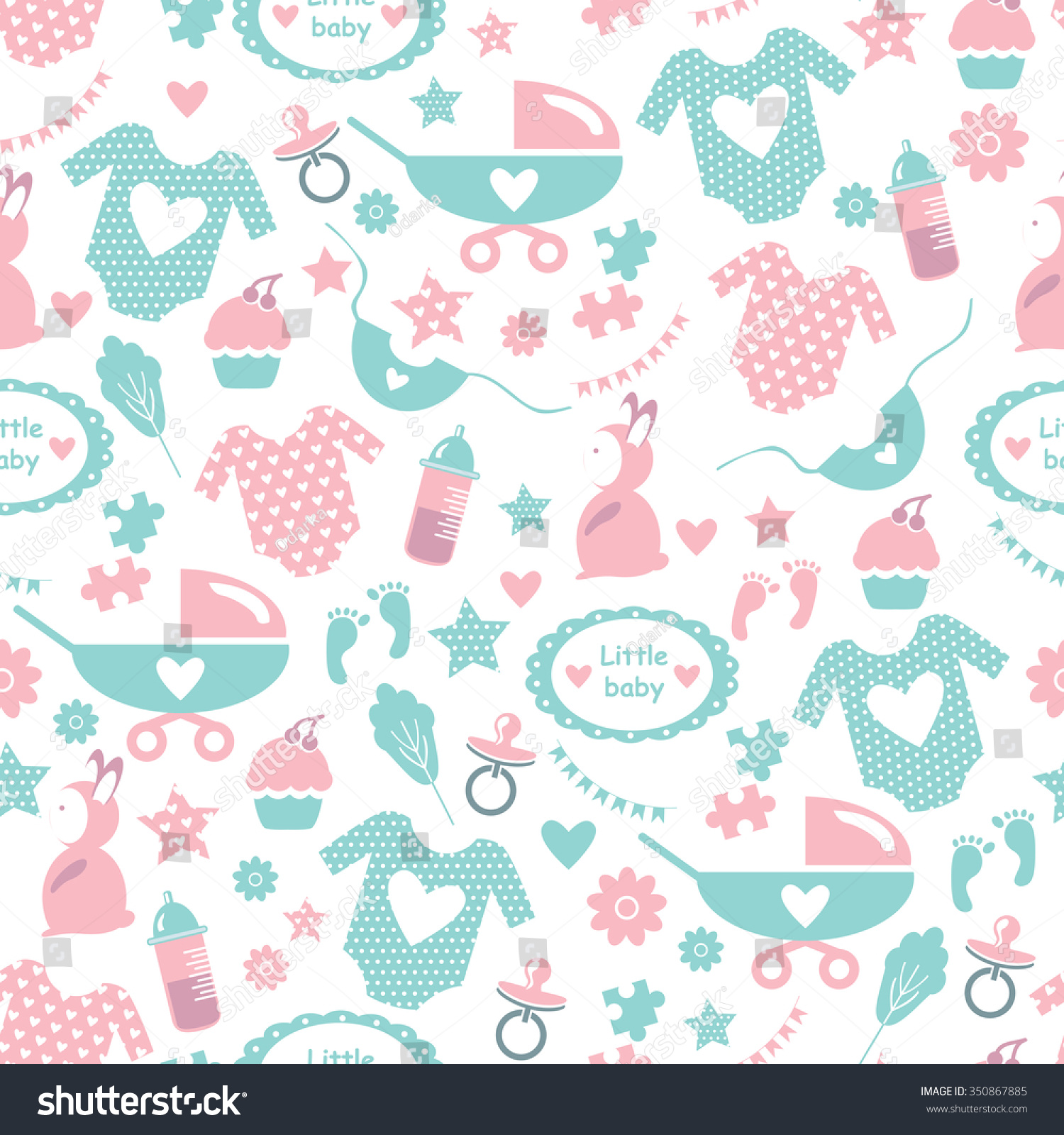 Seamless Baby Pattern For Baby Shower. Pattern With Accessories For Babies:  Baby Clothes,