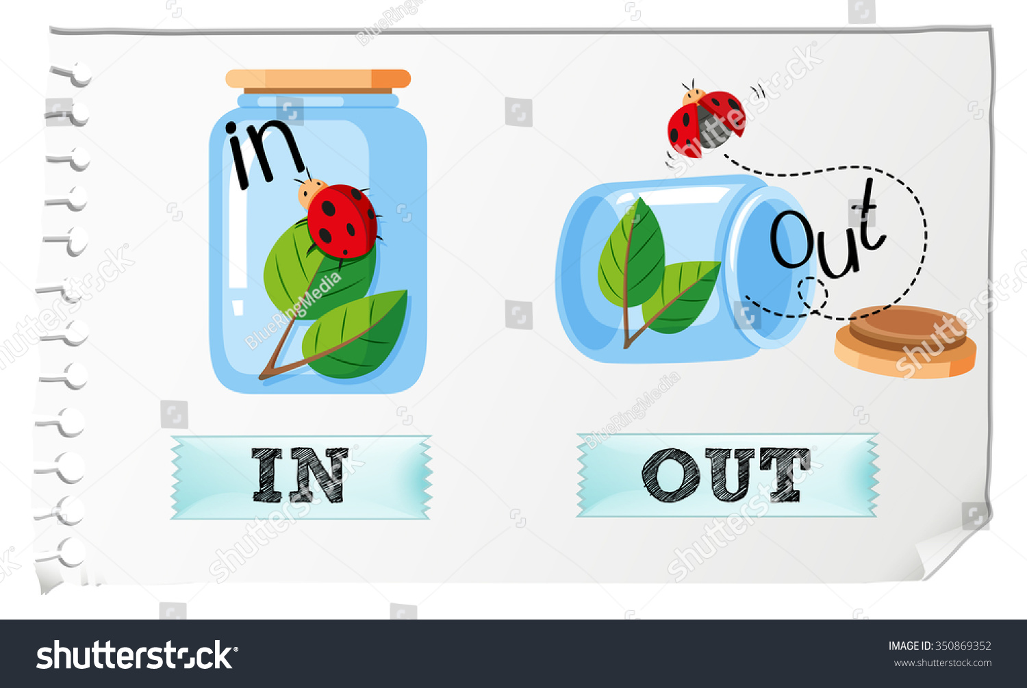 Opposite adjectives in and out illustration 350869352 shutterstock