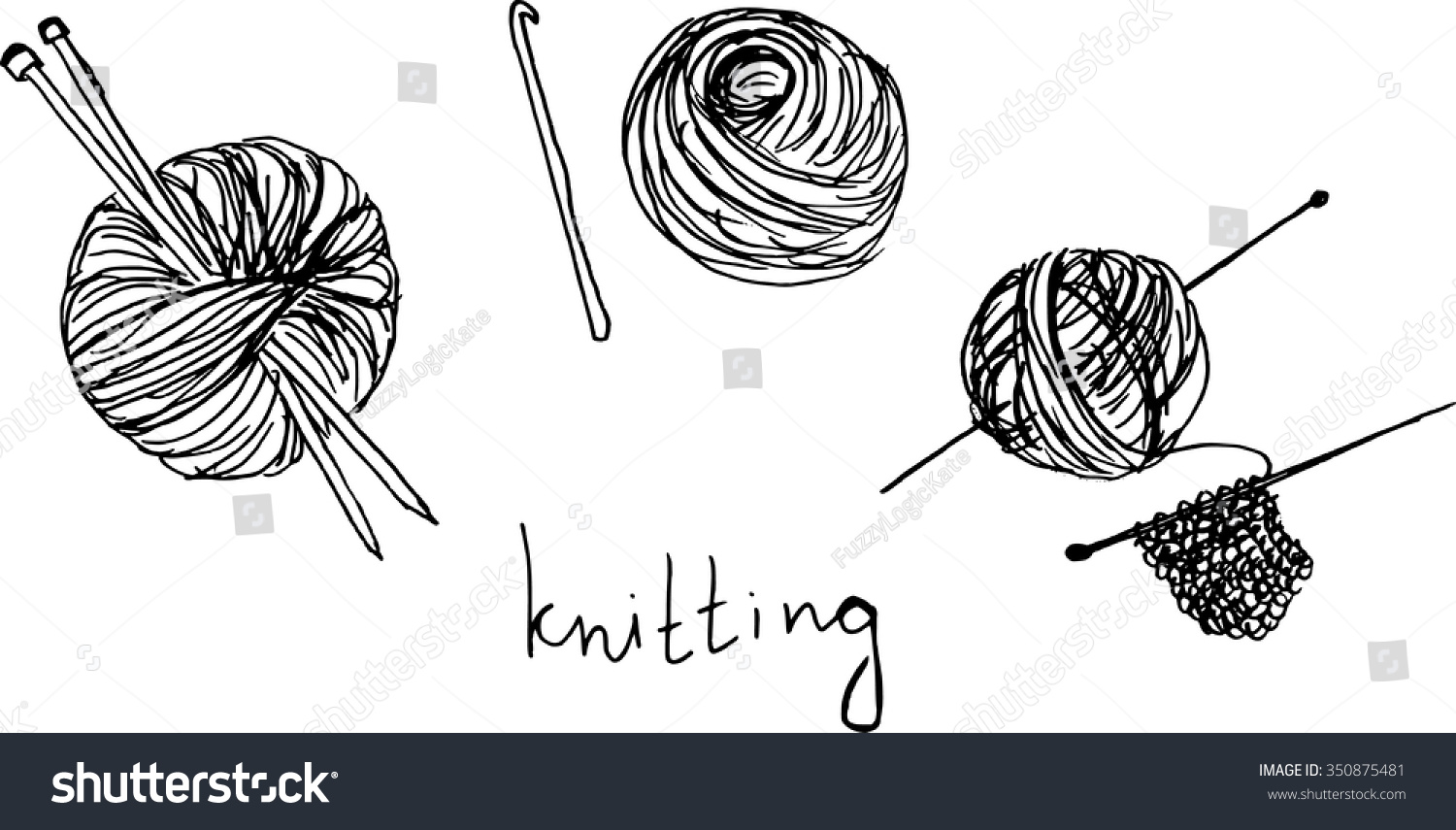 Drawing Knitting Needles : Ball of yarn drawing imgkid the image kid has it