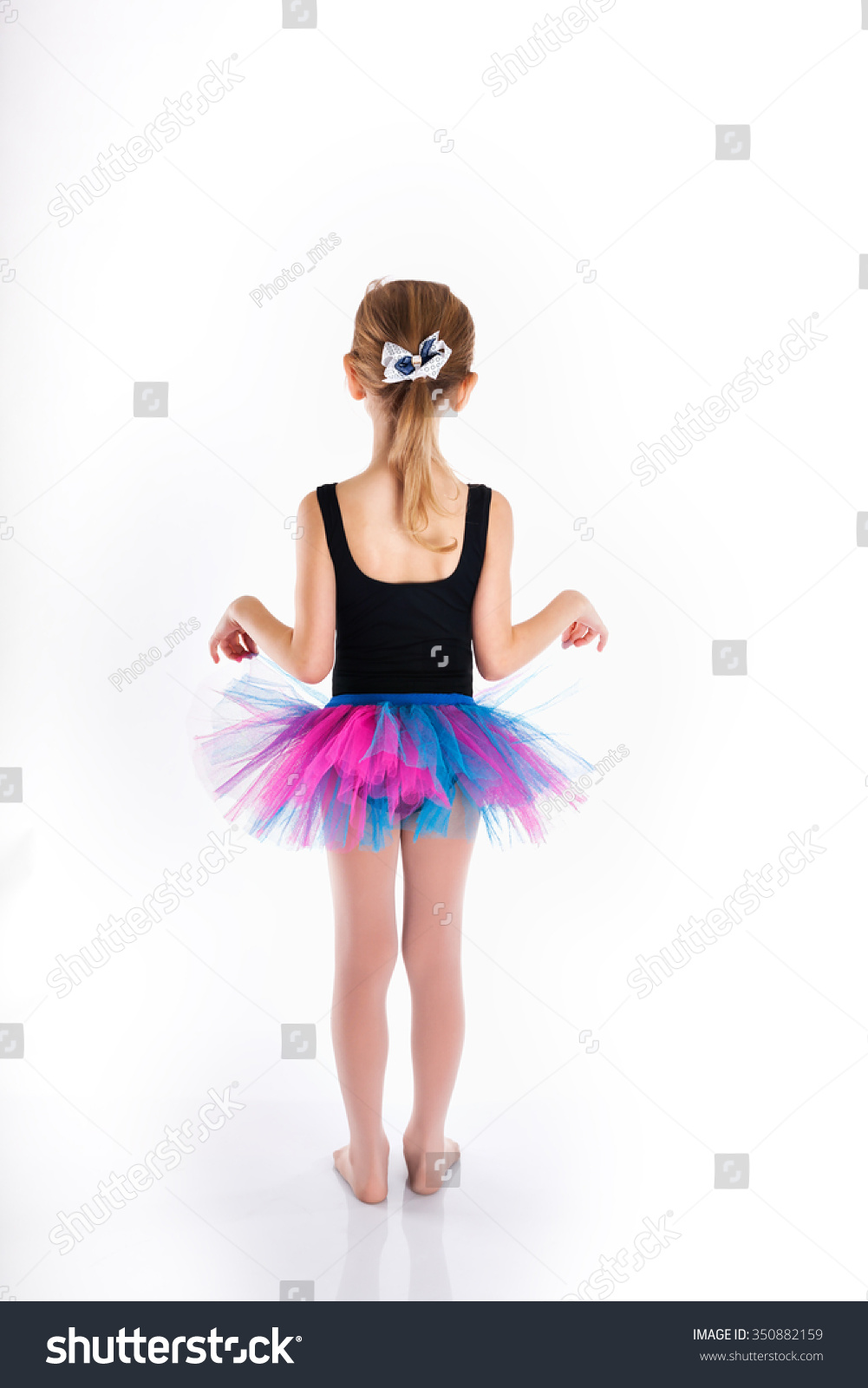 Funny Little Girl Studying Dance. Sport Swimsuit. Purple ...