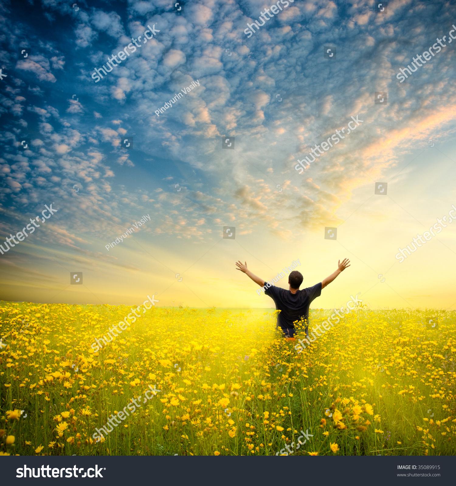 Man Yellow Flower Field Under Beautiful Stock Photo
