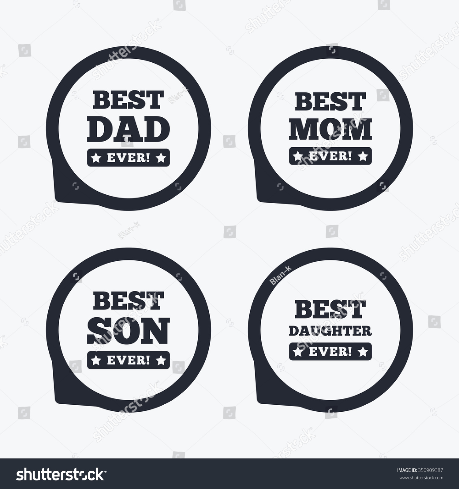Best Mom Dad Son Daughter Icons Stock Vector Royalty Free