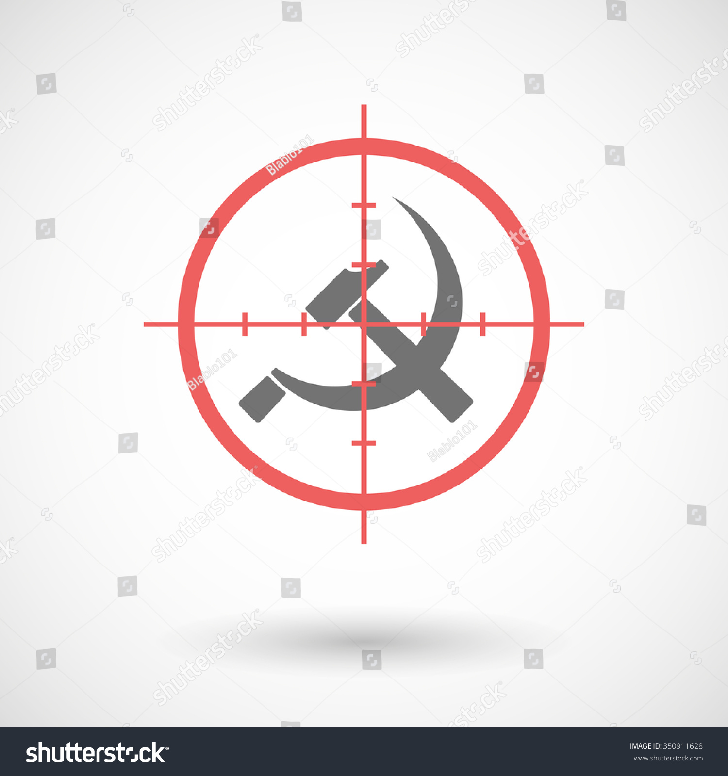 Illustration Red Crosshair Icon Targeting Communist Stock Vector
